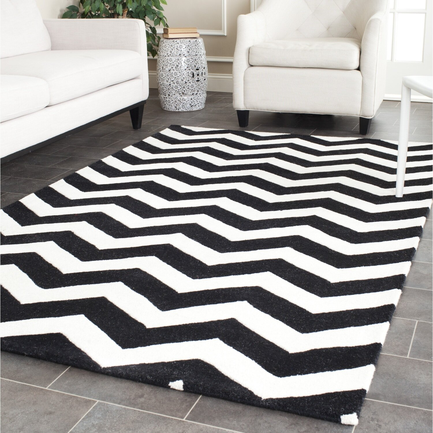 Chevron Kitchen Rug: Chatham Chevron Ivory/Black Area Rug