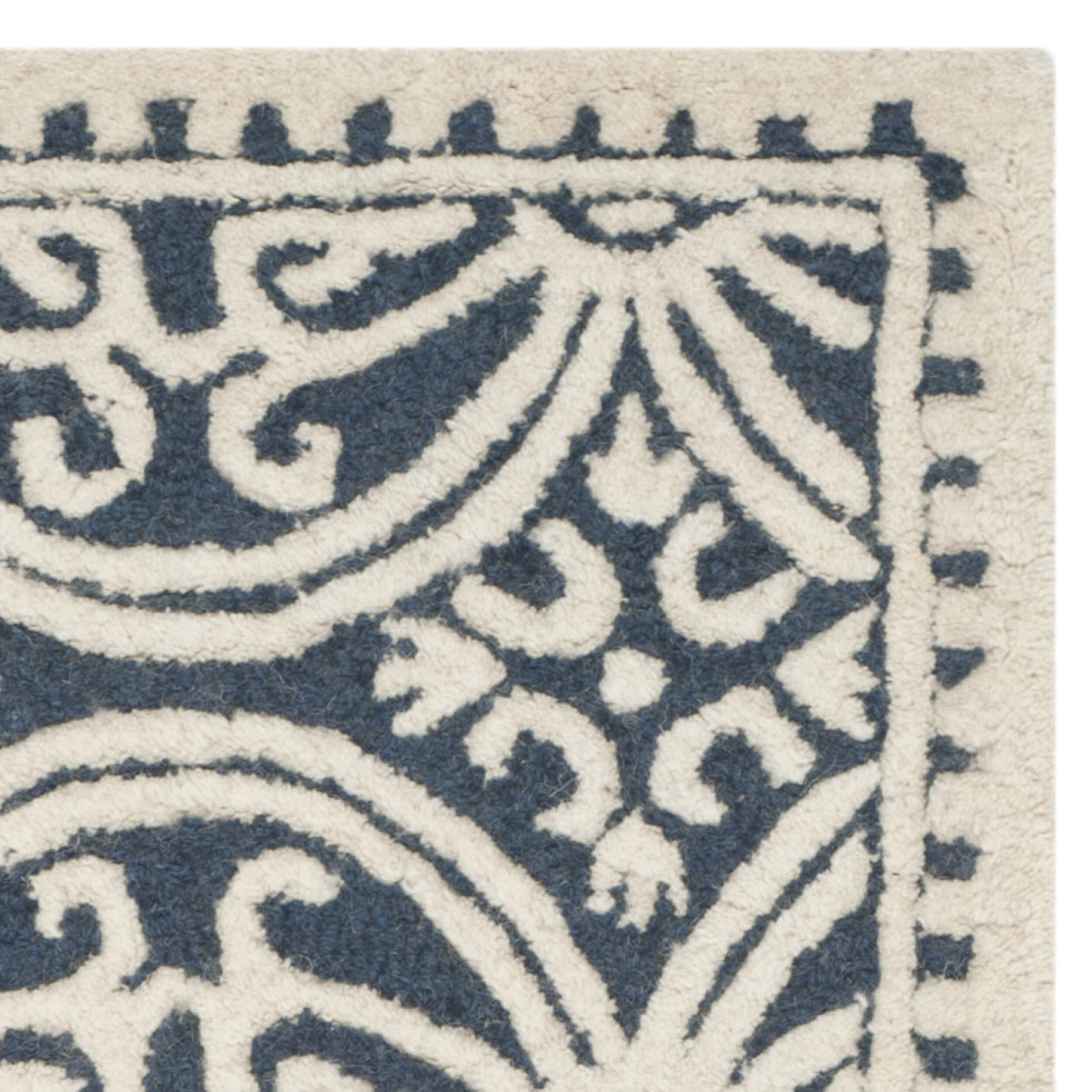 Cambridge Navy Blue Ivory Area Rug Wayfair