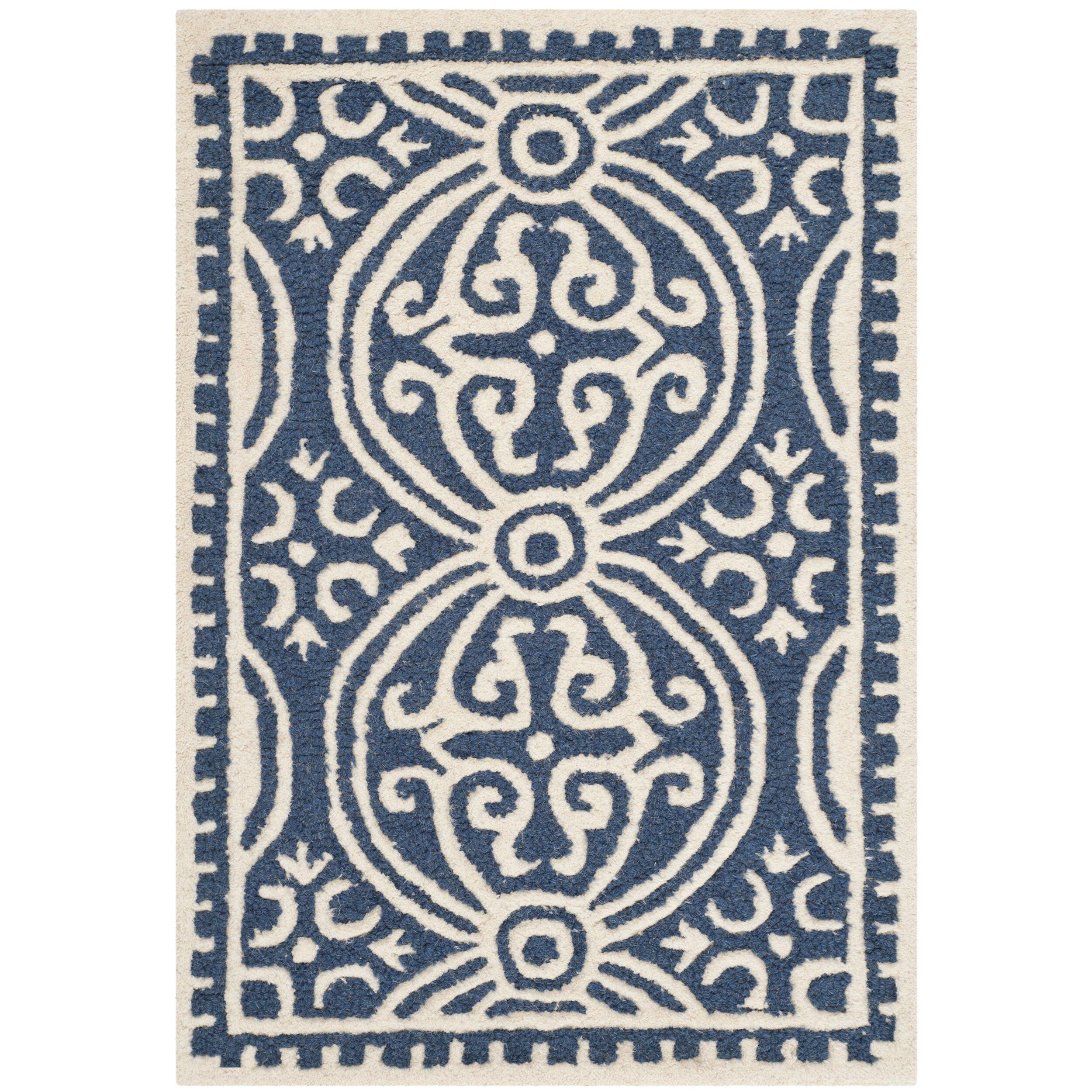 cambridge navy blue ivory area rug wayfair. Black Bedroom Furniture Sets. Home Design Ideas