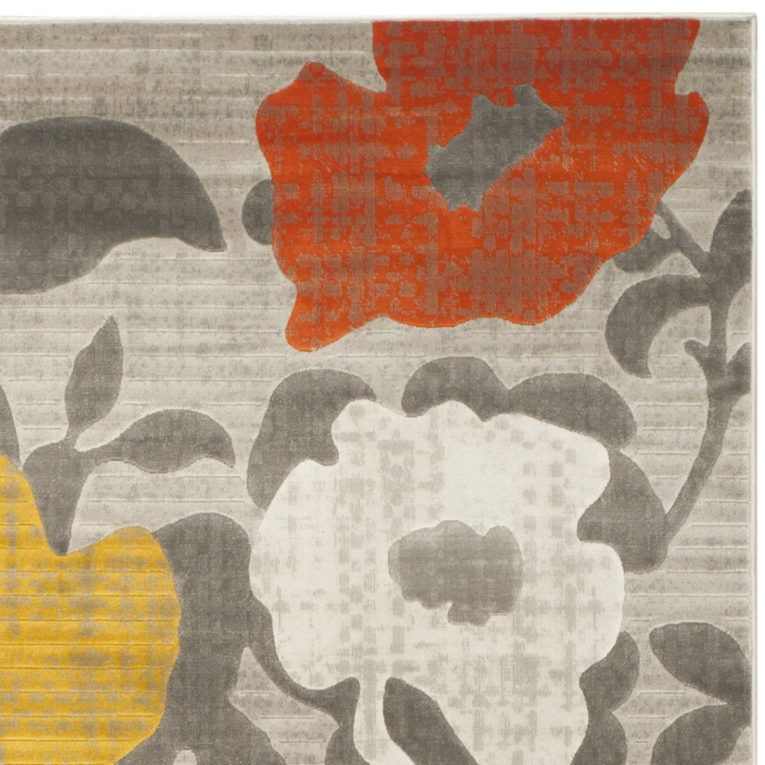 Porcello Grey Yellow Floral And Plant Rug Wayfair