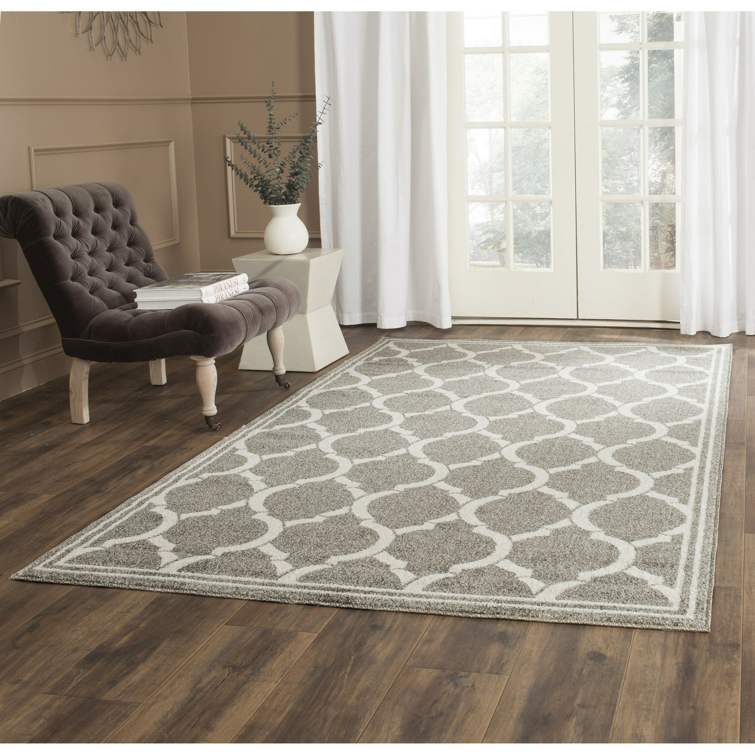 Safavieh Amherst Dark Gray Beige Indoor Outdoor Area Rug