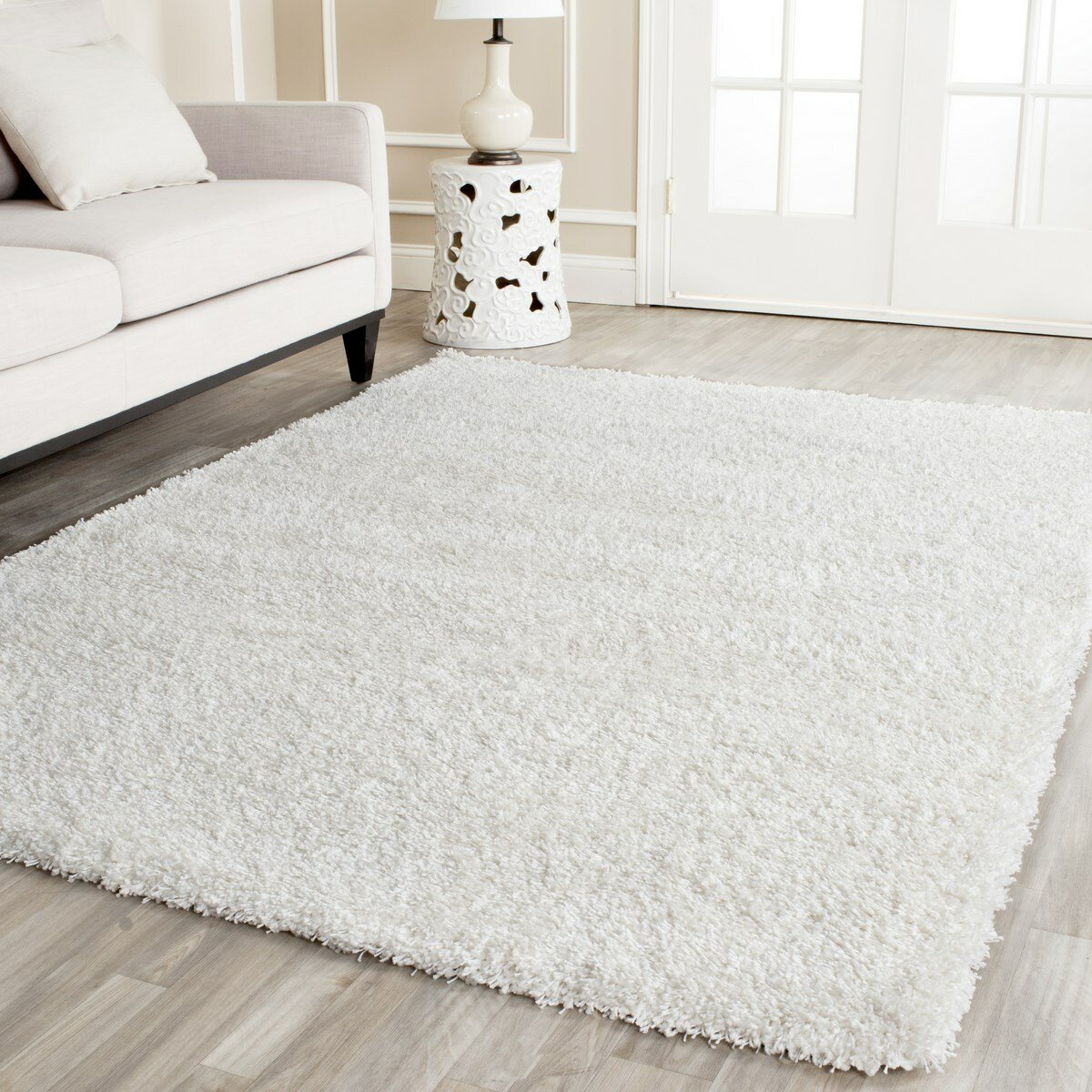 shag white area rug wayfair