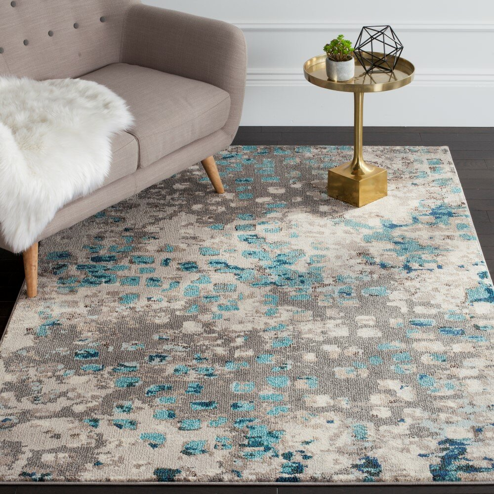 Safavieh monaco gray light blue area rug wayfair for 12x12 living room rugs