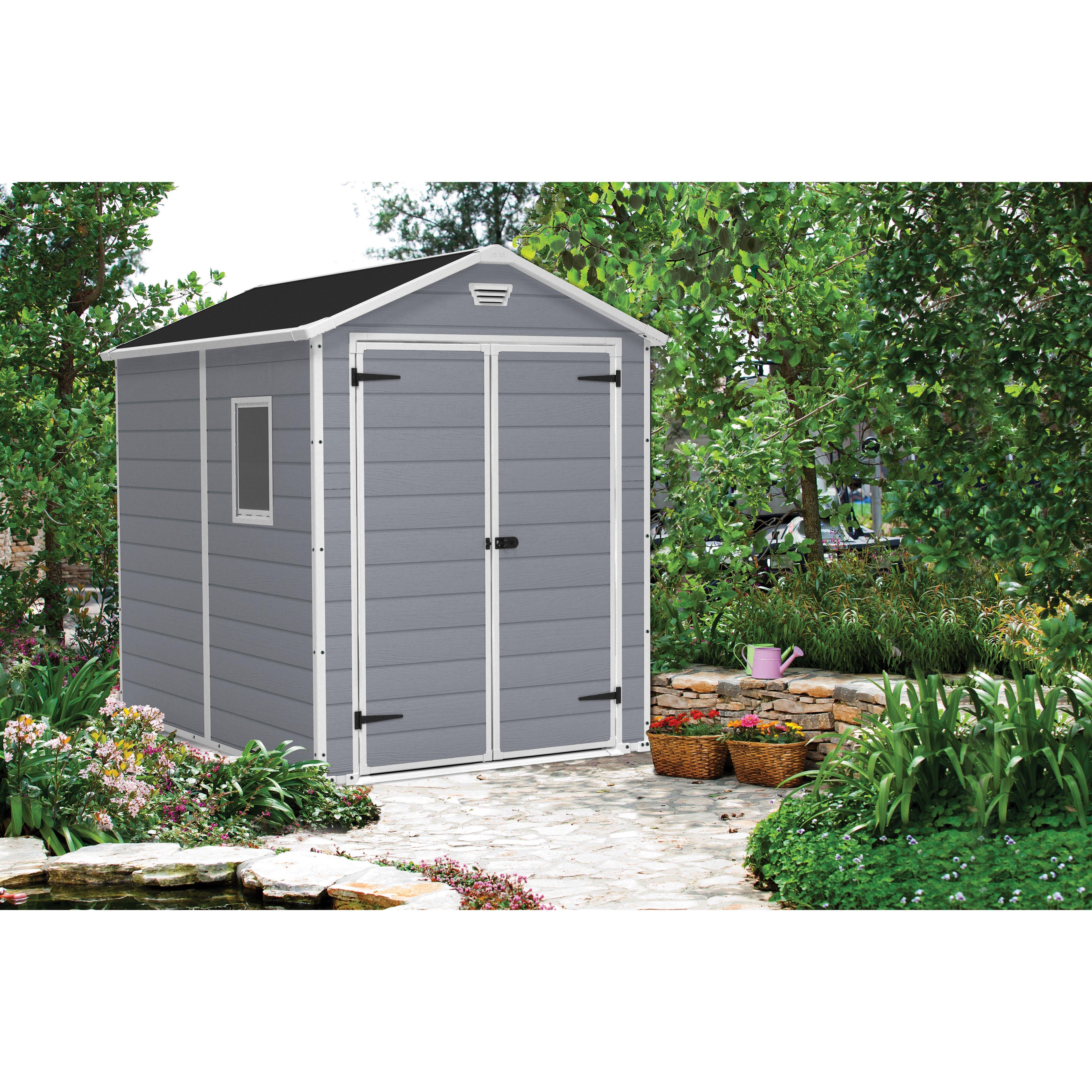 manor 6 ft w x 8 ft d resin storage shed wayfair. Black Bedroom Furniture Sets. Home Design Ideas