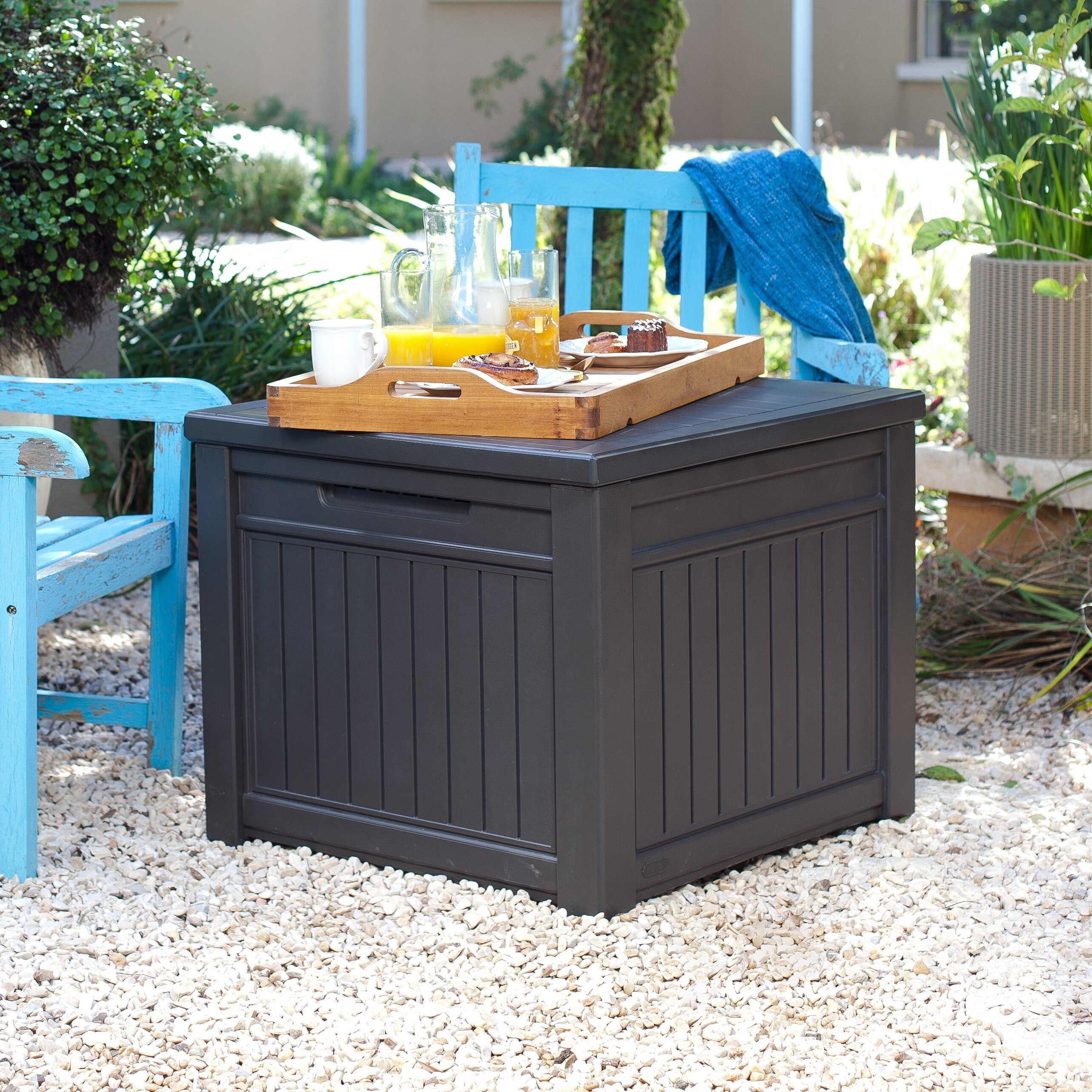 Keter 55 Gallon Resin Storage Cube Deck Box With Table Top