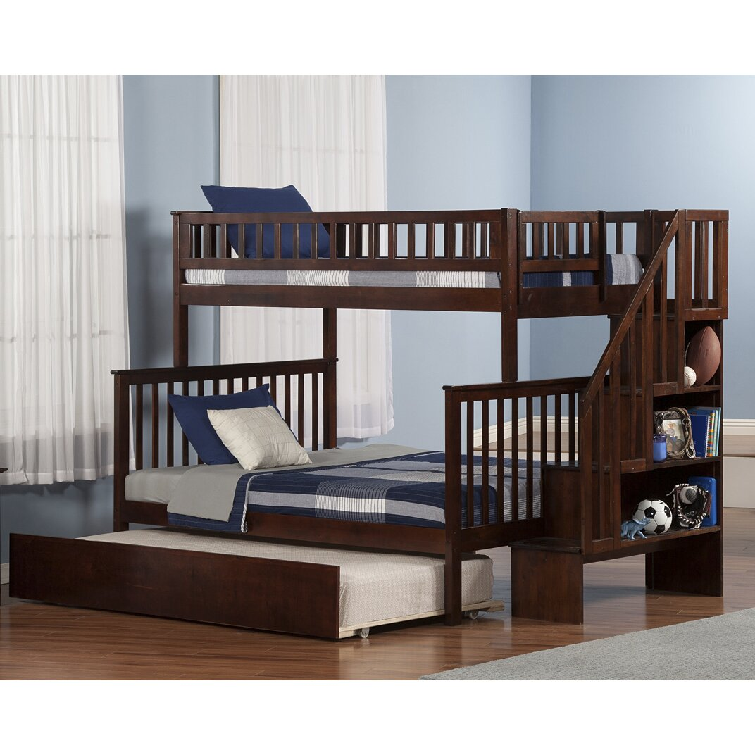 atlantic furniture woodland twin over full with twin trundle reviews wayfair. Black Bedroom Furniture Sets. Home Design Ideas