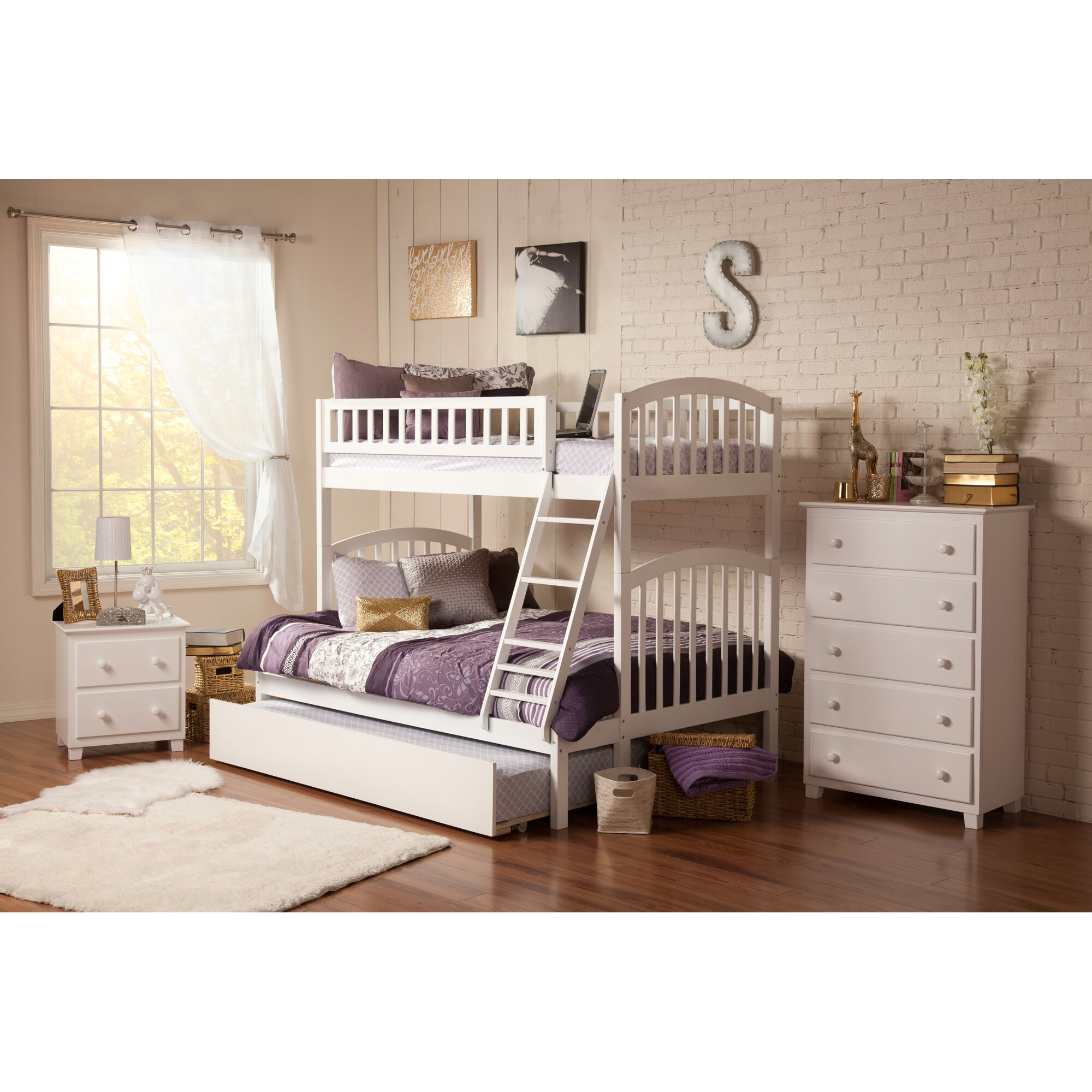richland twin over full bunk bed wayfair. Black Bedroom Furniture Sets. Home Design Ideas