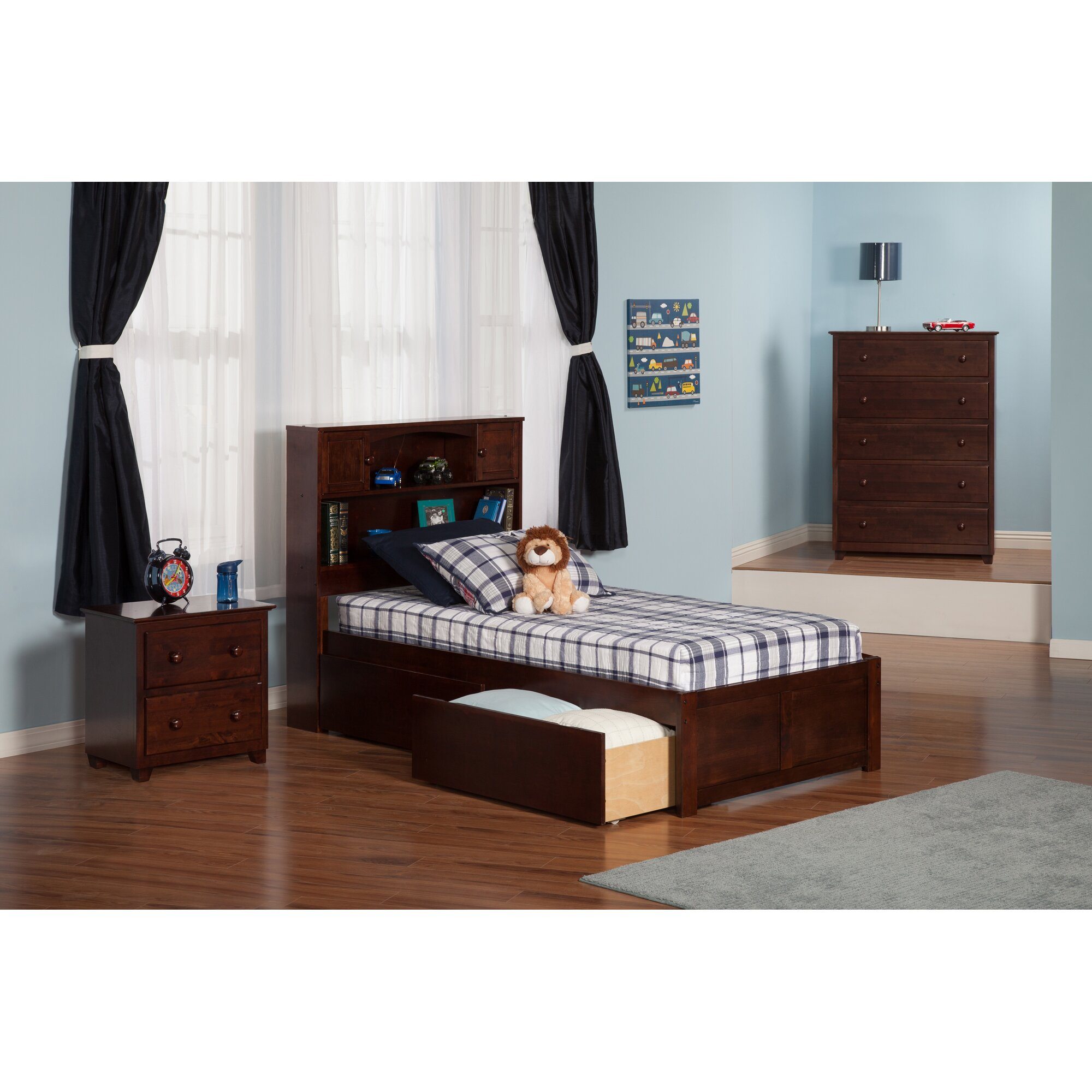 newport extra long twin platform bed with storage wayfair. Black Bedroom Furniture Sets. Home Design Ideas