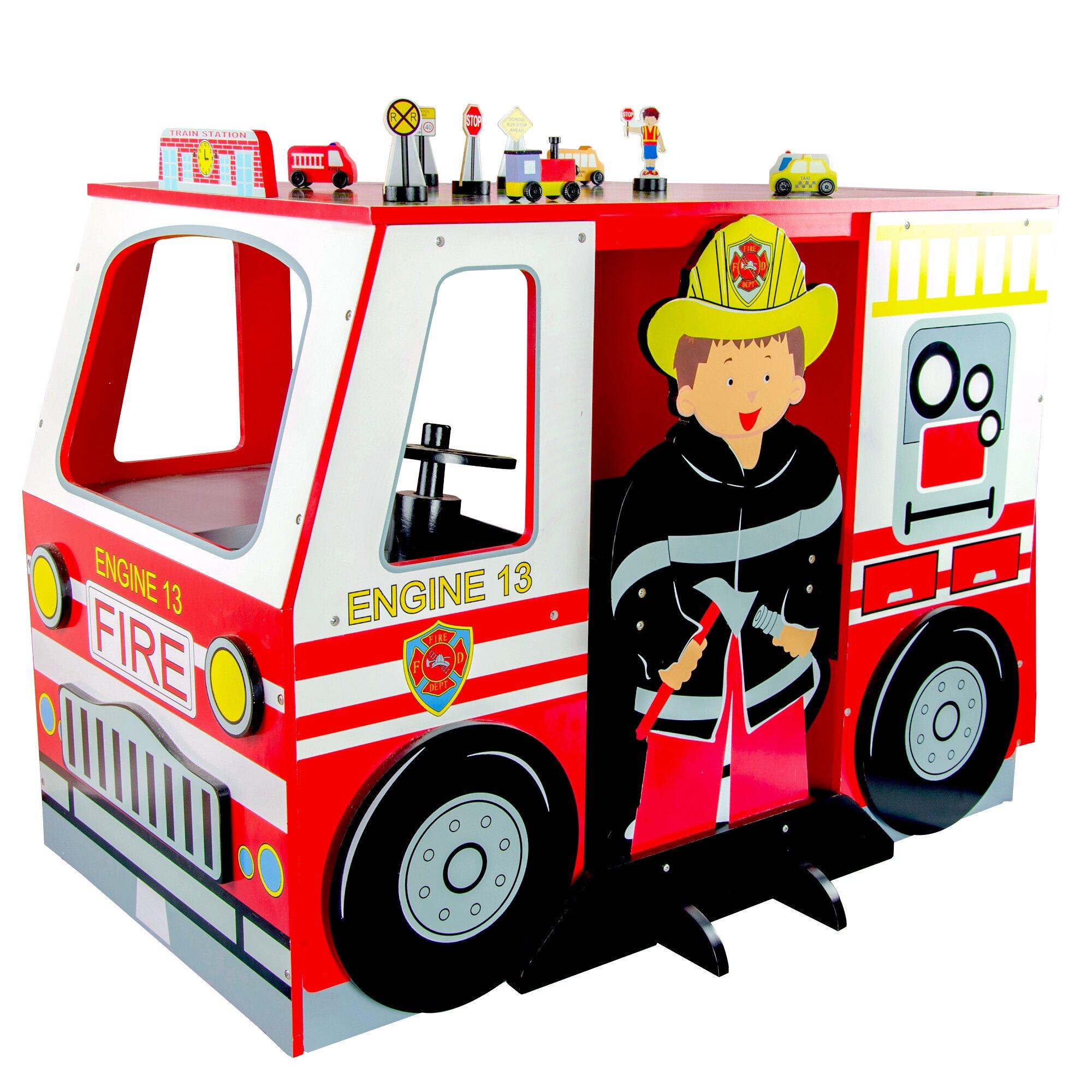 Kids Fire Engine Desk and Chair Set | Wayfair