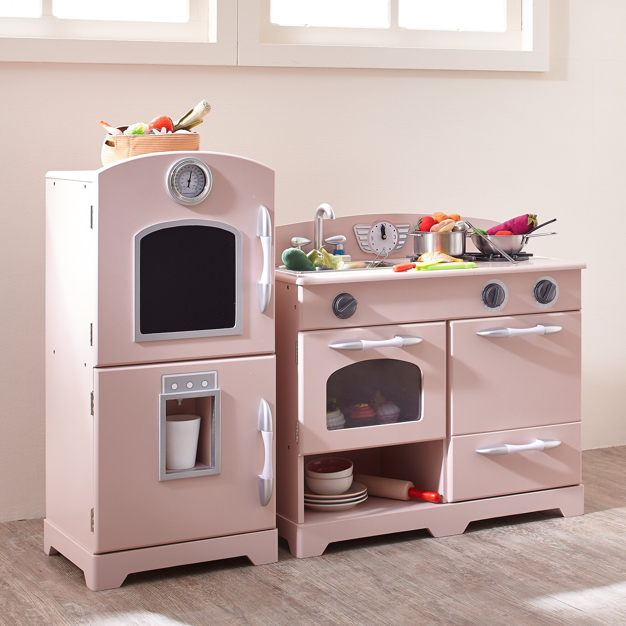 2 piece wooden play kitchen set wayfair for Kitchen kitchen set