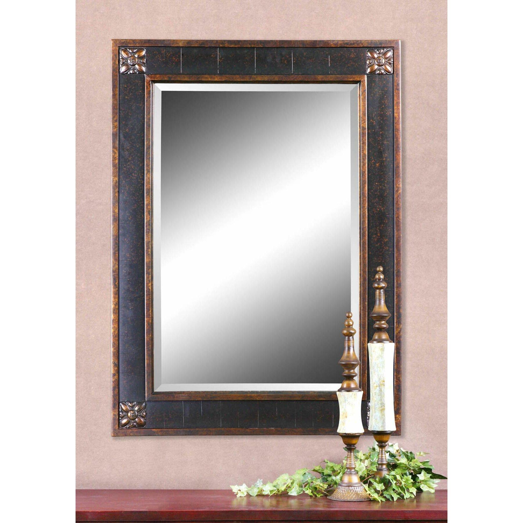 rosalind wheeler rectangular beveled vanity mirror in distressed walnut brown reviews wayfair. Black Bedroom Furniture Sets. Home Design Ideas