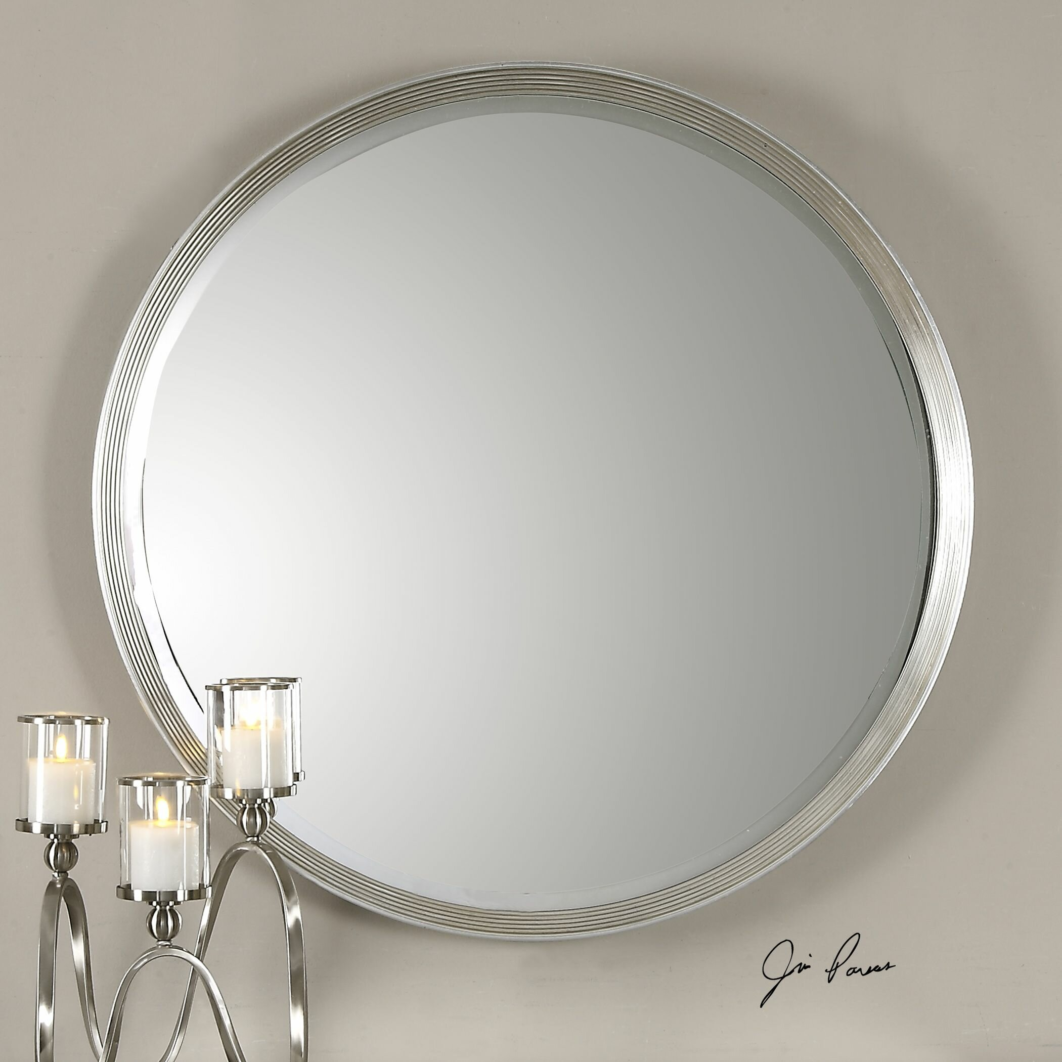 serenza round silver wall mirror wayfair. Black Bedroom Furniture Sets. Home Design Ideas