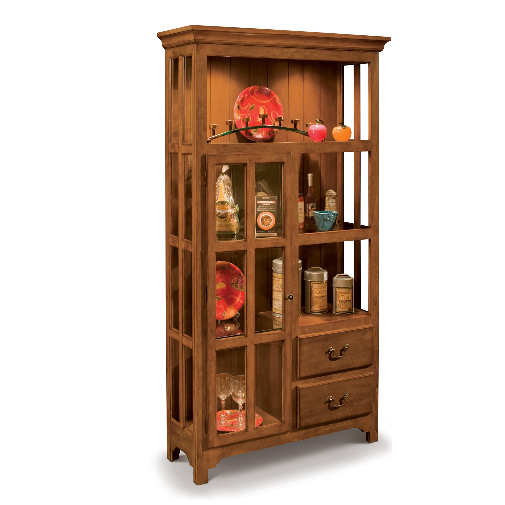 Philip reinisch co colortime solid wood curio display for Solid wood cabinets company reviews