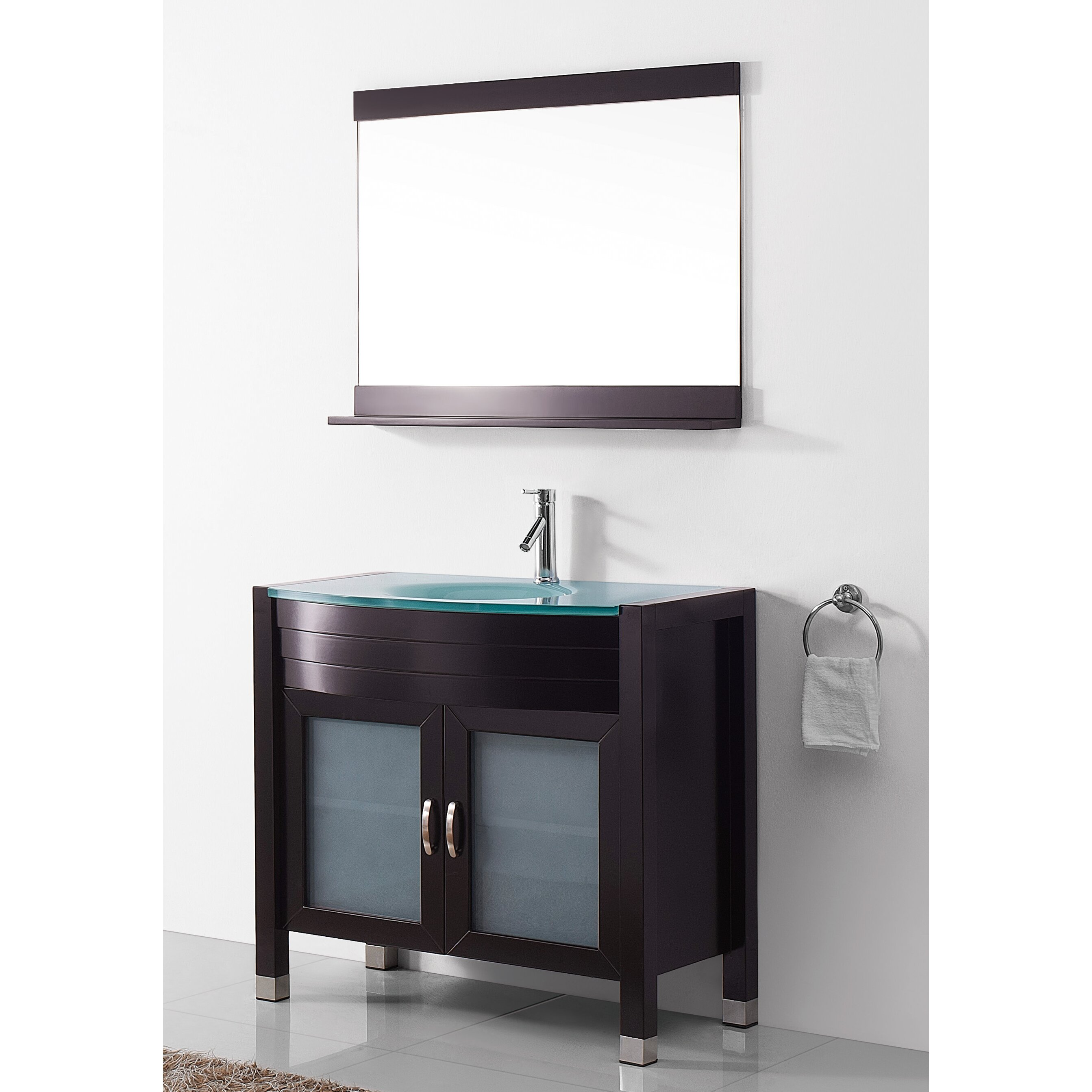 Lastest Virtu Ultra Modern Series 59quot Double Bathroom Vanity Set With Mirror