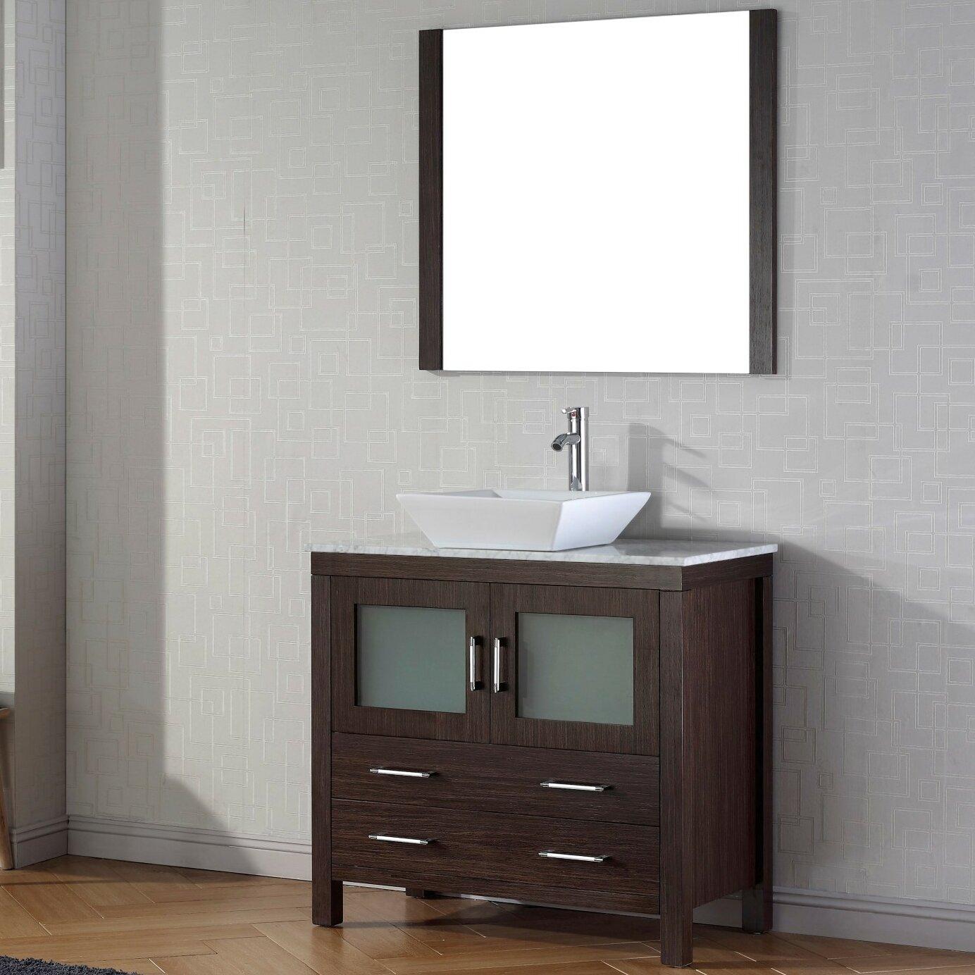 "Dior 32"" Single Bathroom Vanity Set with Mirror and Marble Top"
