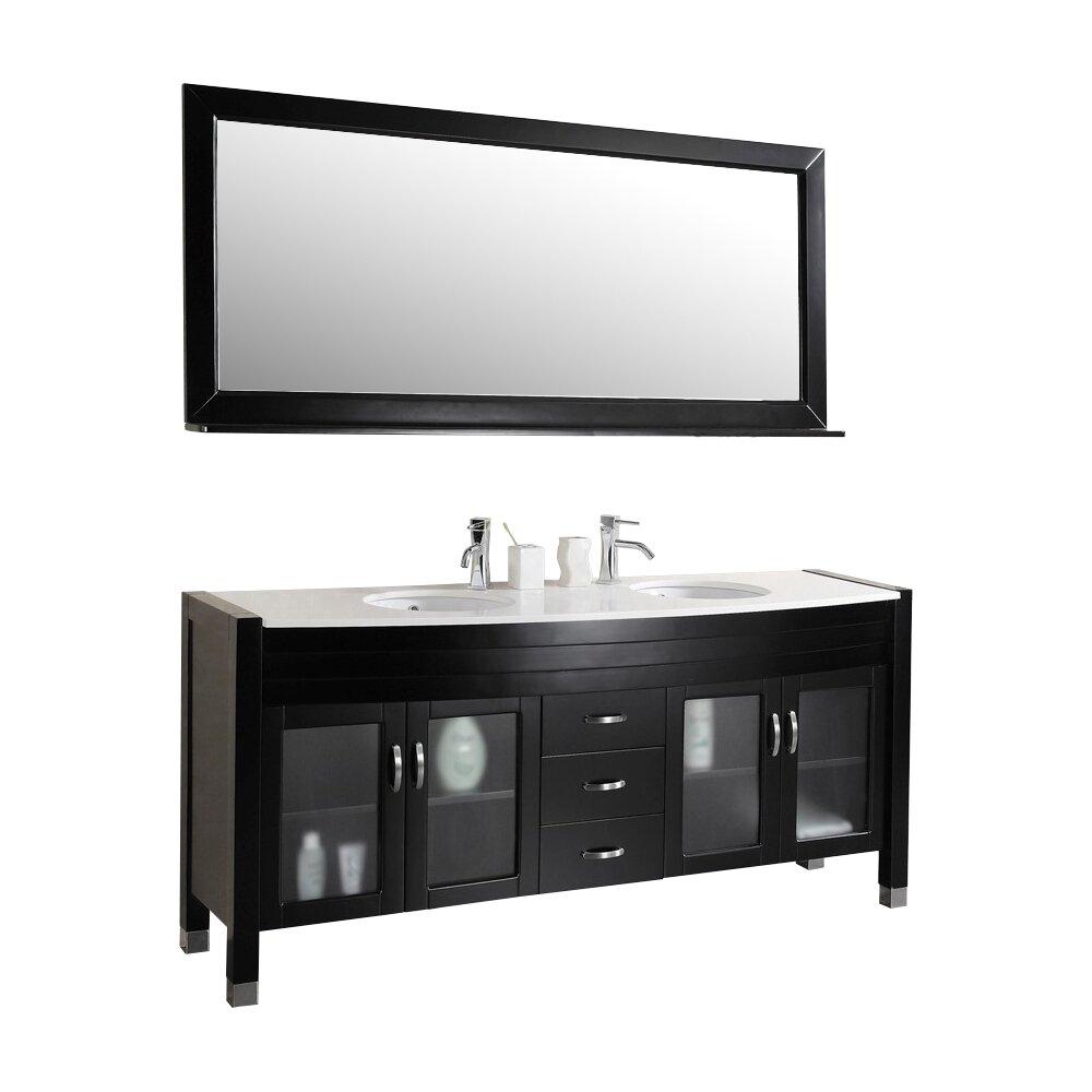 Ultra modern series 71 double bathroom vanity set with mirror for Ultra bathroom vanities burbank