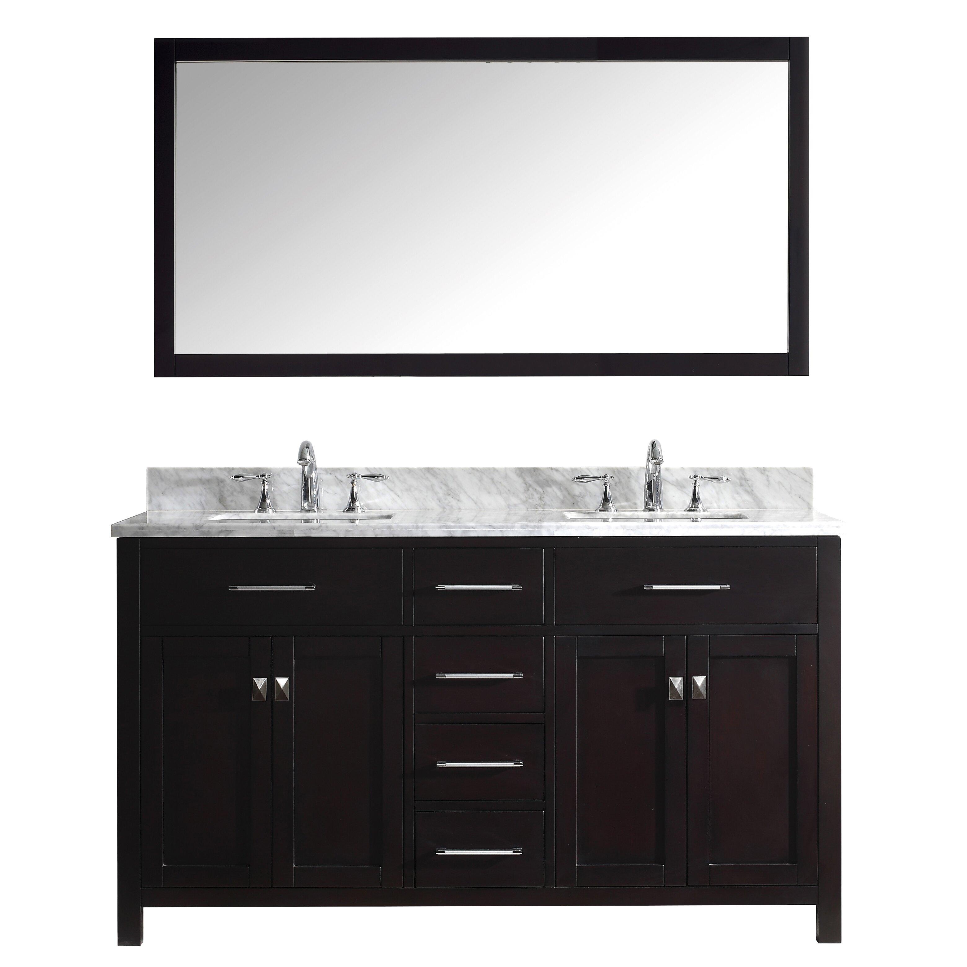 Caroline 60 Double Bathroom Vanity Set With Carrara White Stone Top And Mirror Wayfair