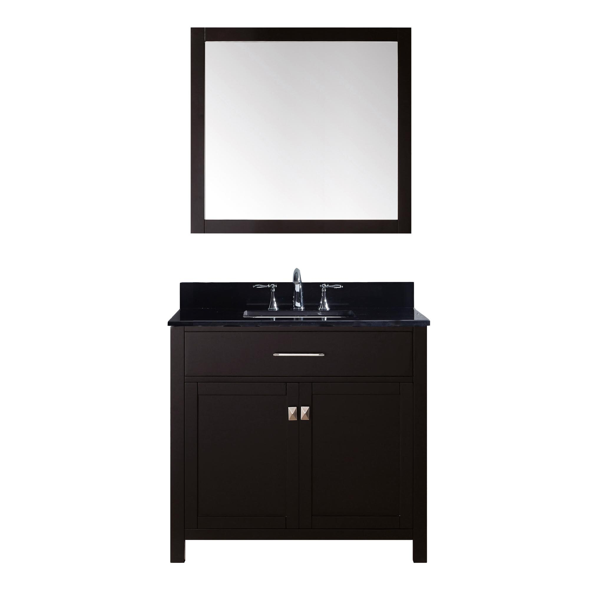 virtu caroline 36 single bathroom vanity set with black galaxy top