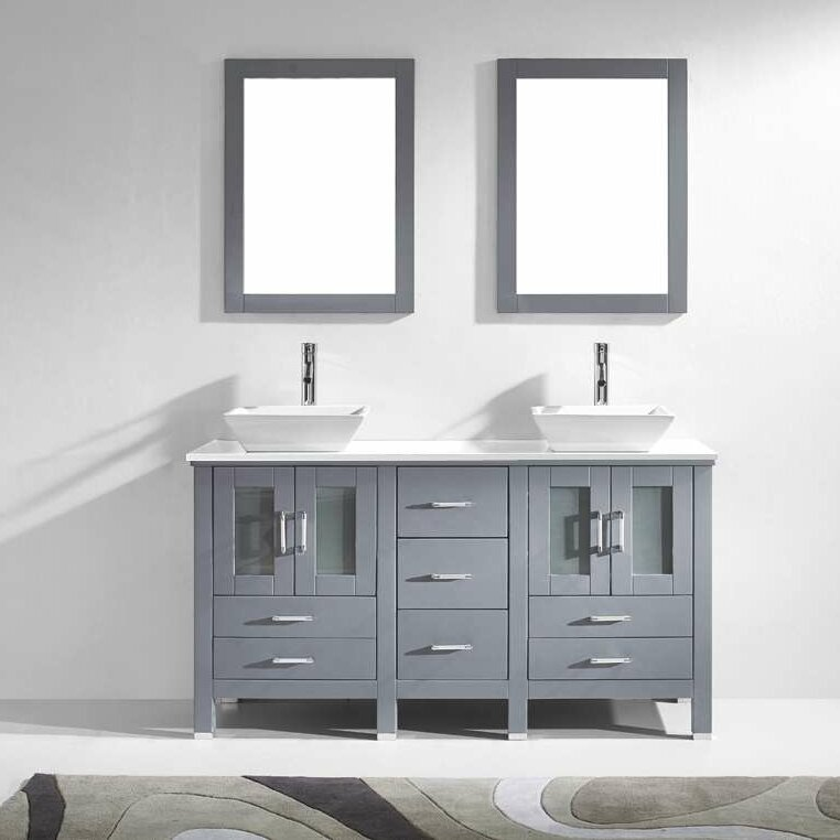 Mirror Set Double Sink Bathroom Vanity