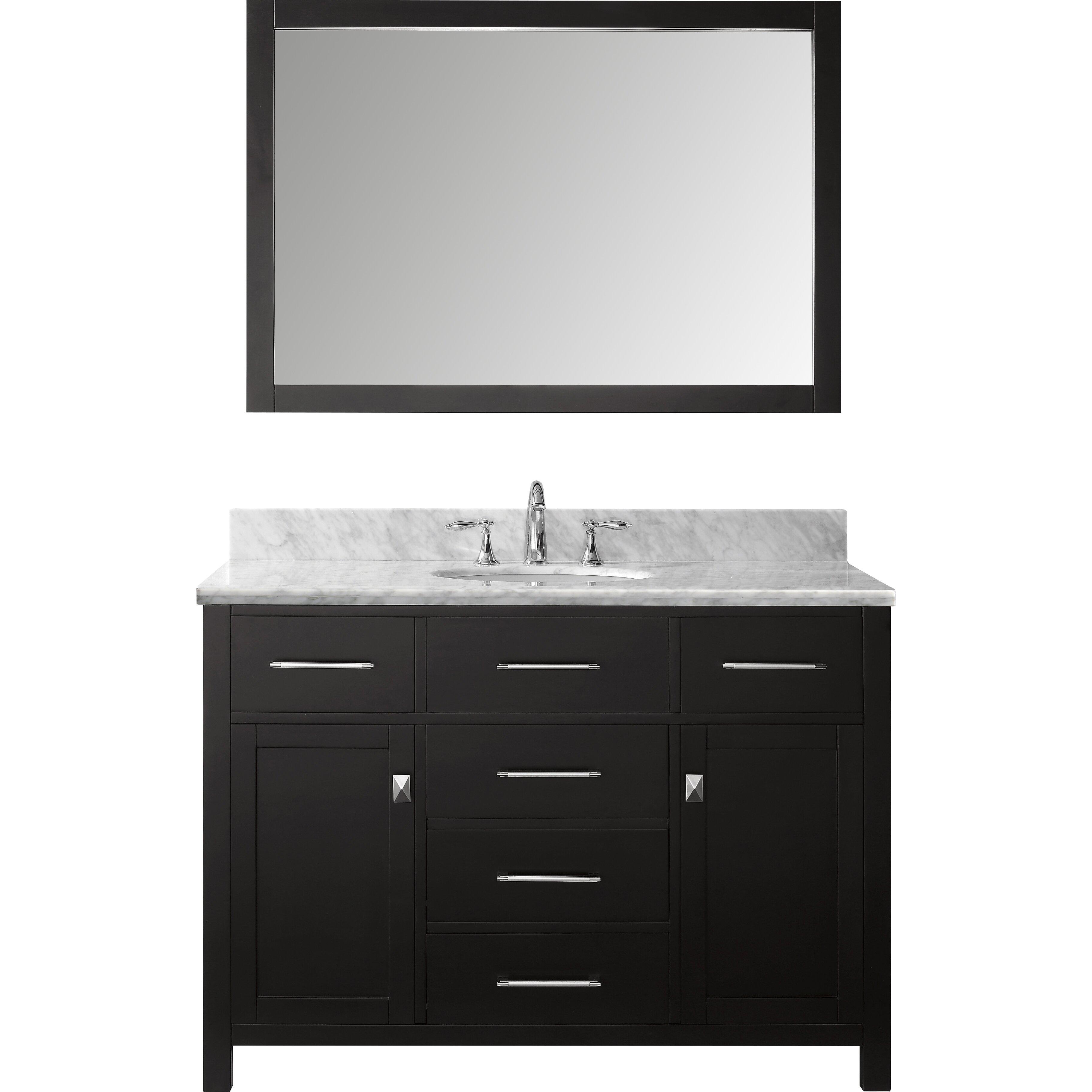 Caroline 48 Single Bathroom Vanity Set With Carrara White Stone Top And Mirror Wayfair