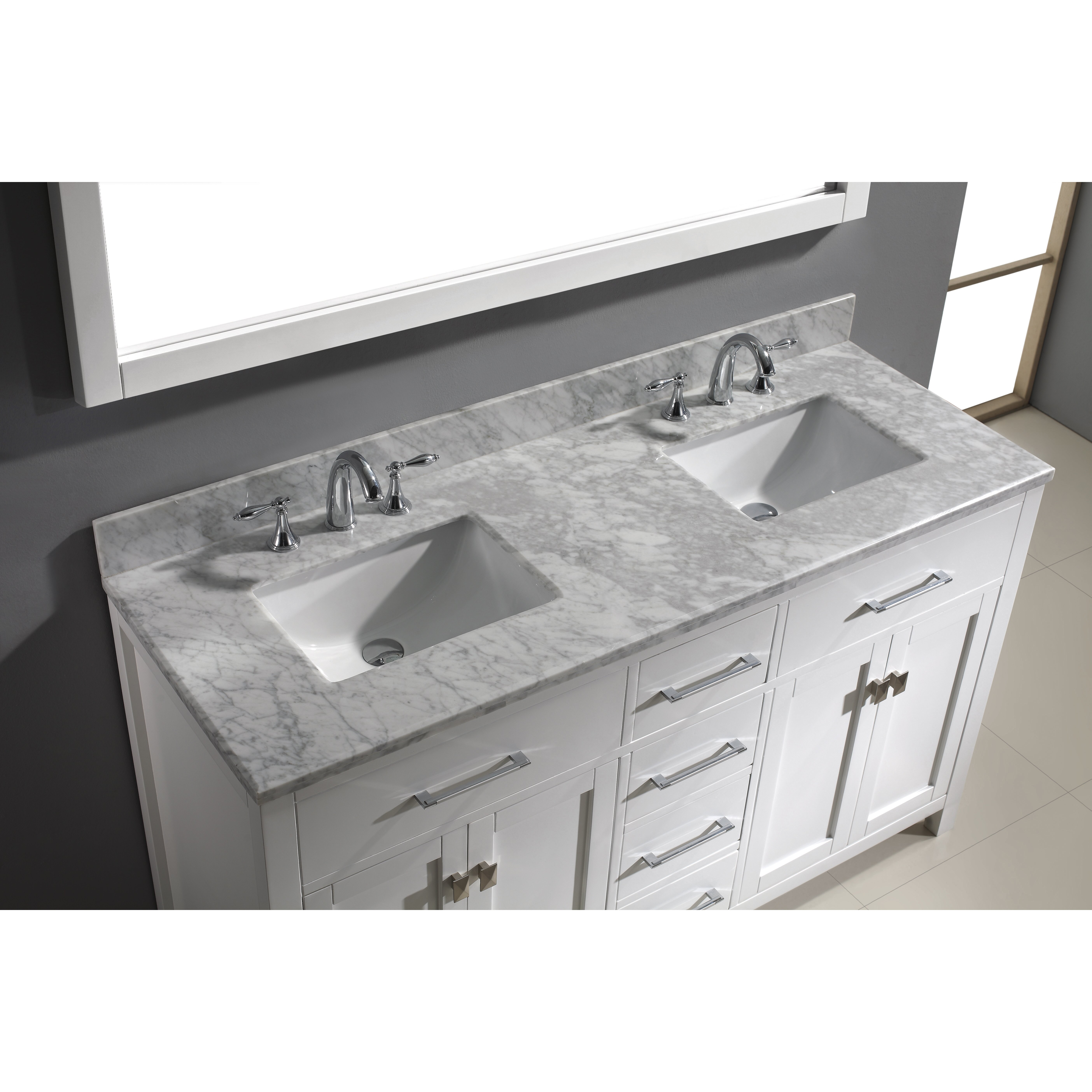 Virtu caroline 60 double bathroom vanity set with carrara white stone top and mirror reviews for Caroline 60 inch double sink bathroom vanity set