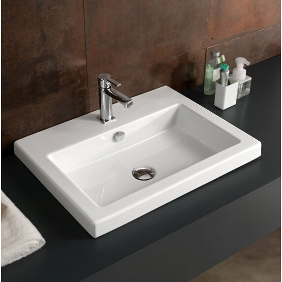 Cangas Ceramic Bathroom Sink With Overflow Wayfair