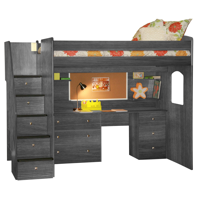 utica loft bed with storage wayfair. Black Bedroom Furniture Sets. Home Design Ideas