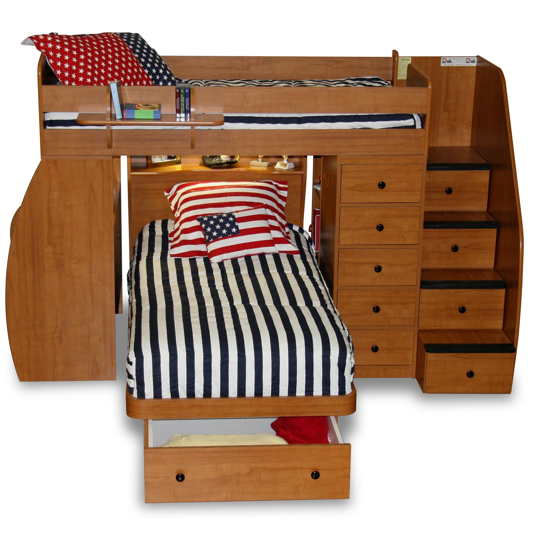 sierra twin l shaped bunk bed with storage wayfair. Black Bedroom Furniture Sets. Home Design Ideas