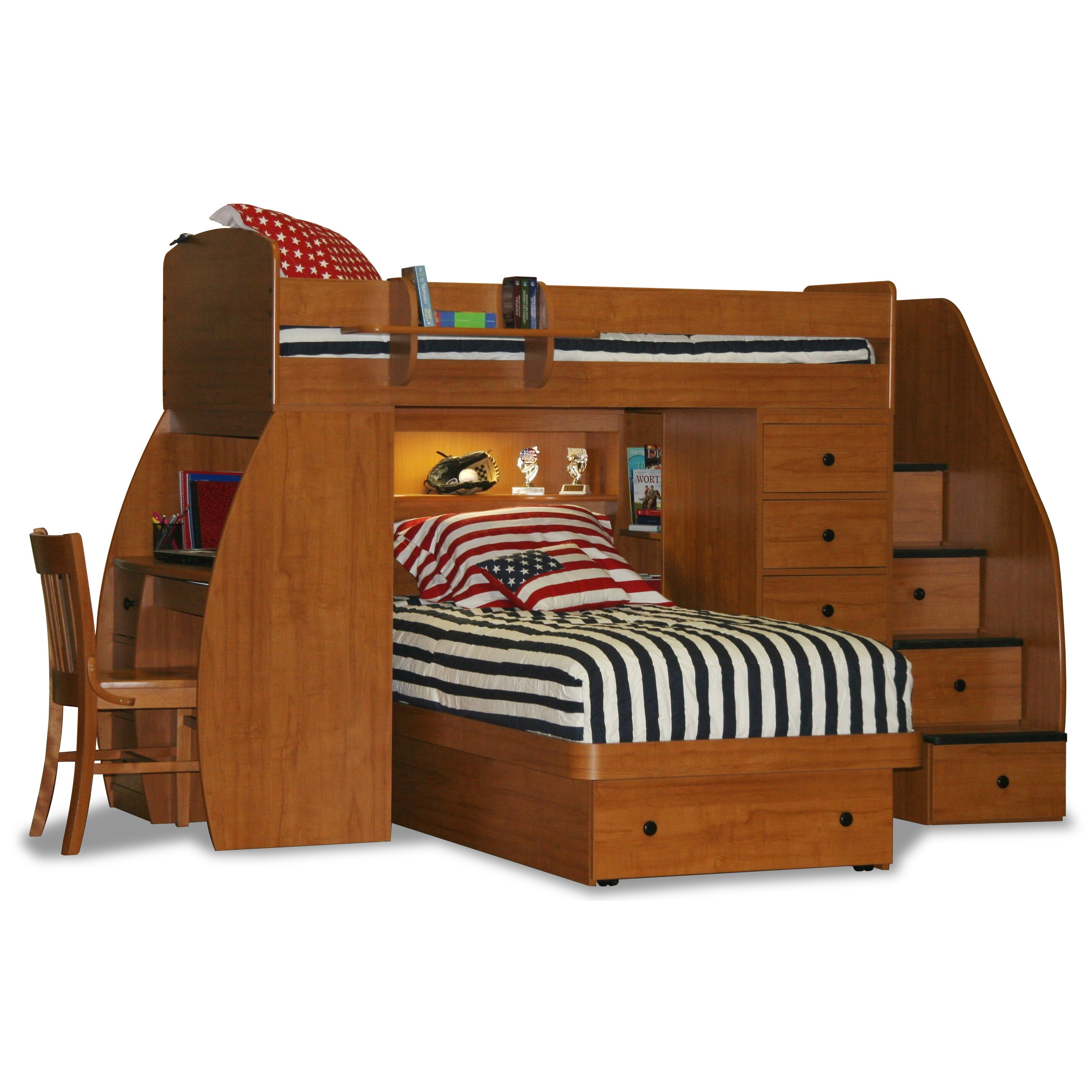 Space Saving Bunk Beds: Sierra Twin L-Shaped Bunk Bed With Storage