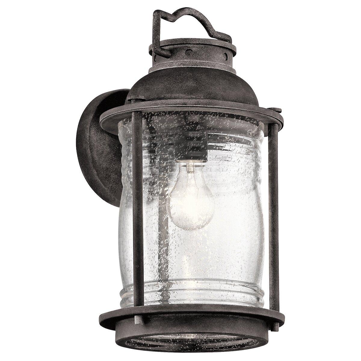 Kichler Ashland Bay Outdoor Pedestal Lantern Weathered: Ashland Bay 1 Light Outdoor Wall Lantern