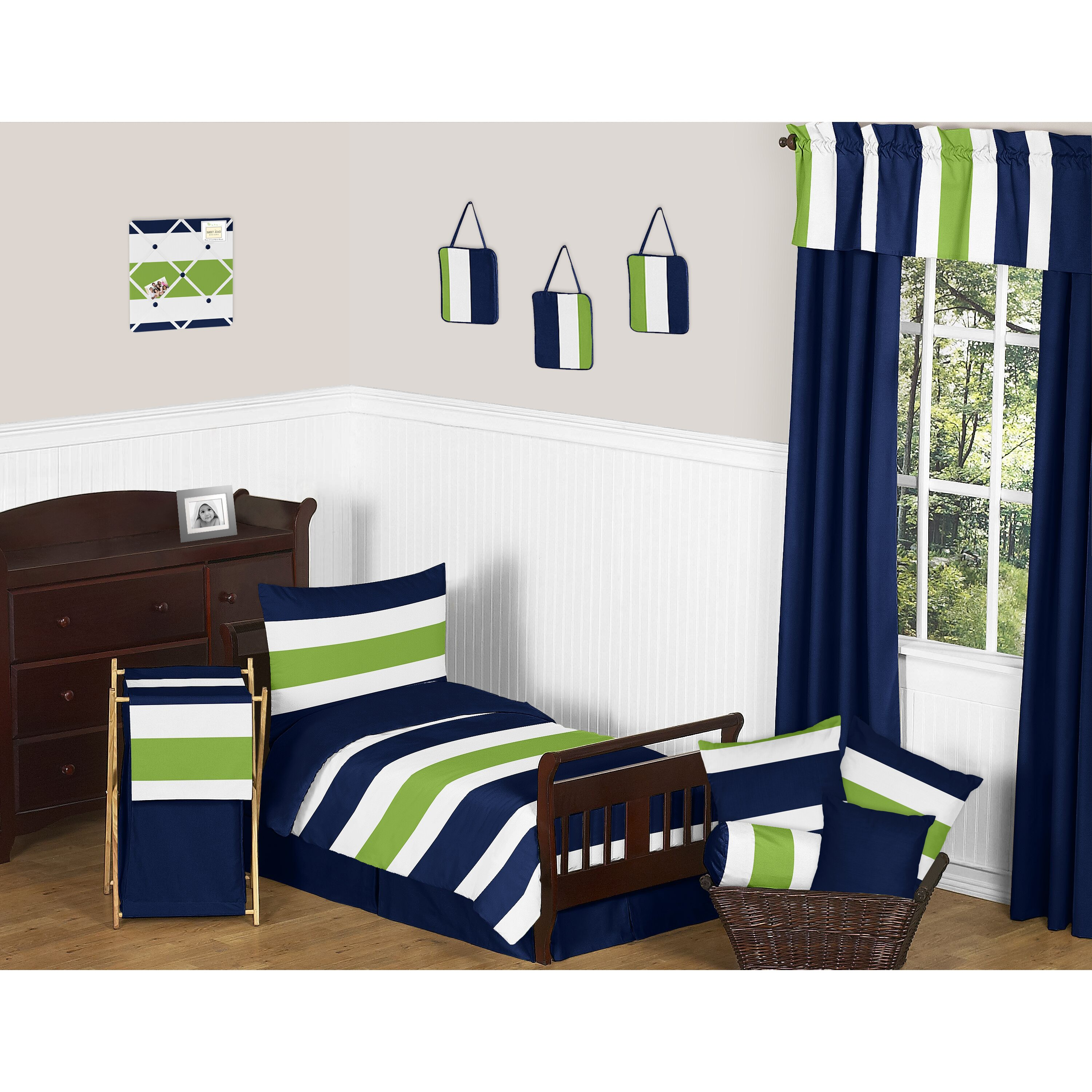 Navy Blue and Lime Green Stripe 5 Piece Toddler Bedding ...