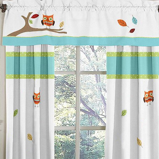"Hooty Turquoise And Lime 54"" Curtain Valance"