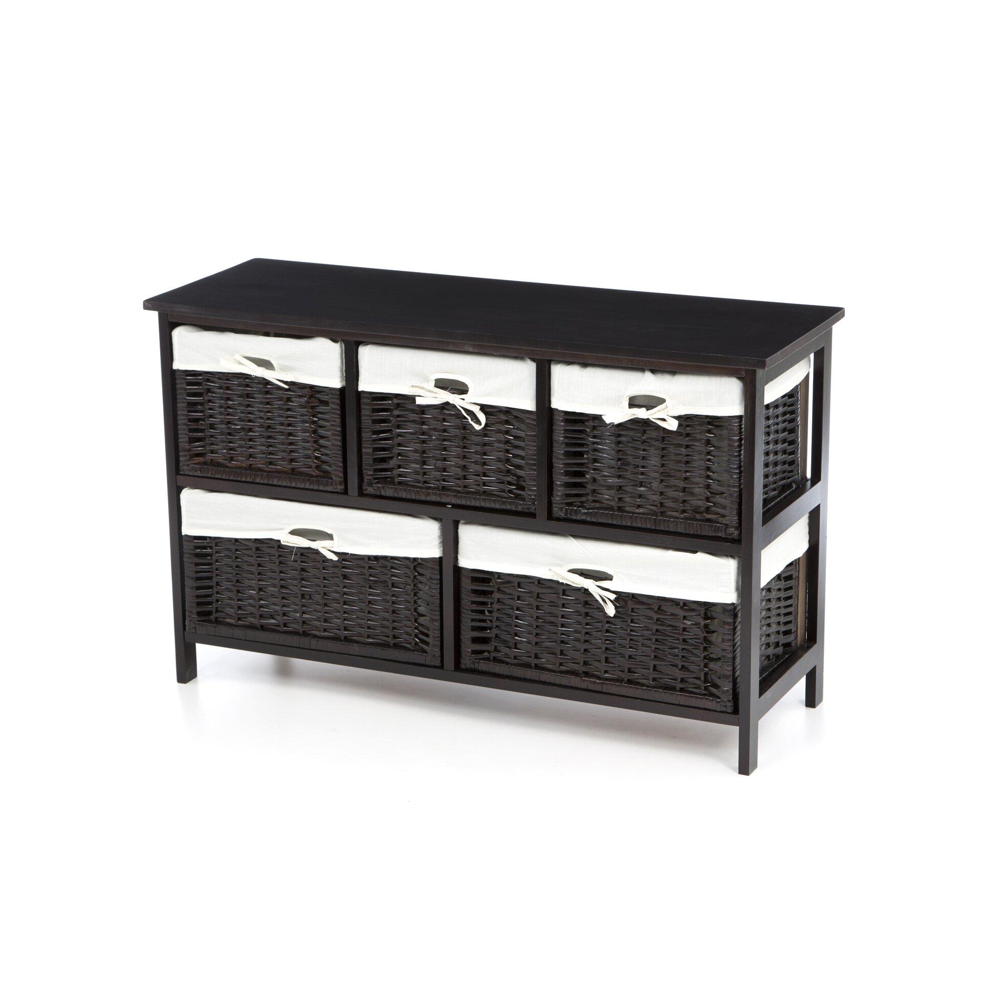 beachcrest home ana chase five wicker basket storage unit in espresso reviews wayfair. Black Bedroom Furniture Sets. Home Design Ideas