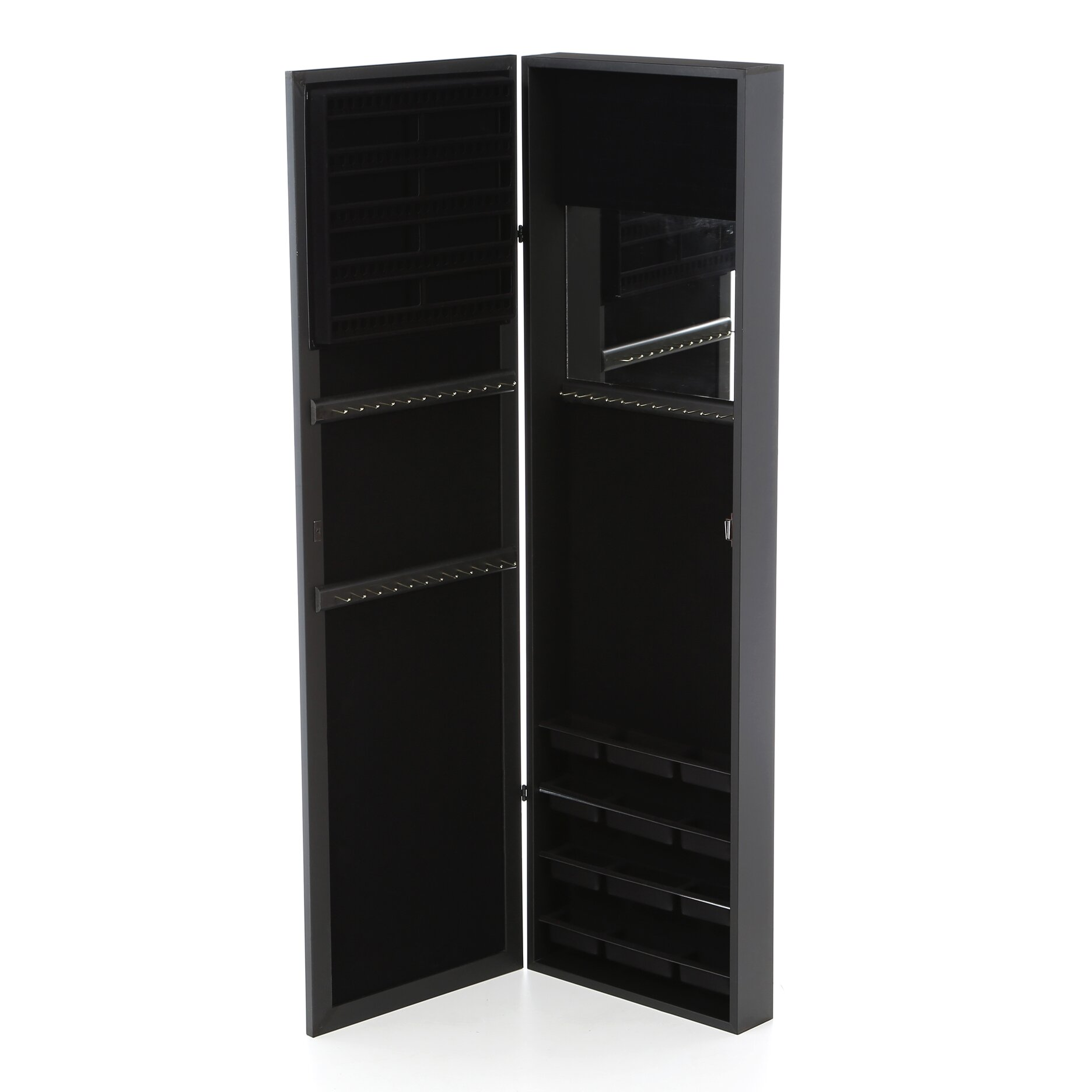 mirrotek wall mounted jewelry armoire with mirror reviews wayfair. Black Bedroom Furniture Sets. Home Design Ideas