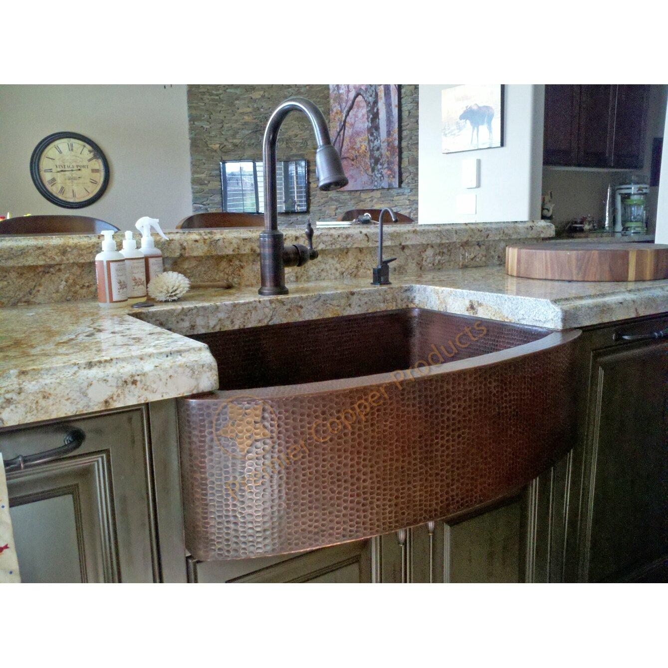 "Apron Kitchen Sink: Premier Copper Products 33"" X 24"" Hammered Apron Kitchen"