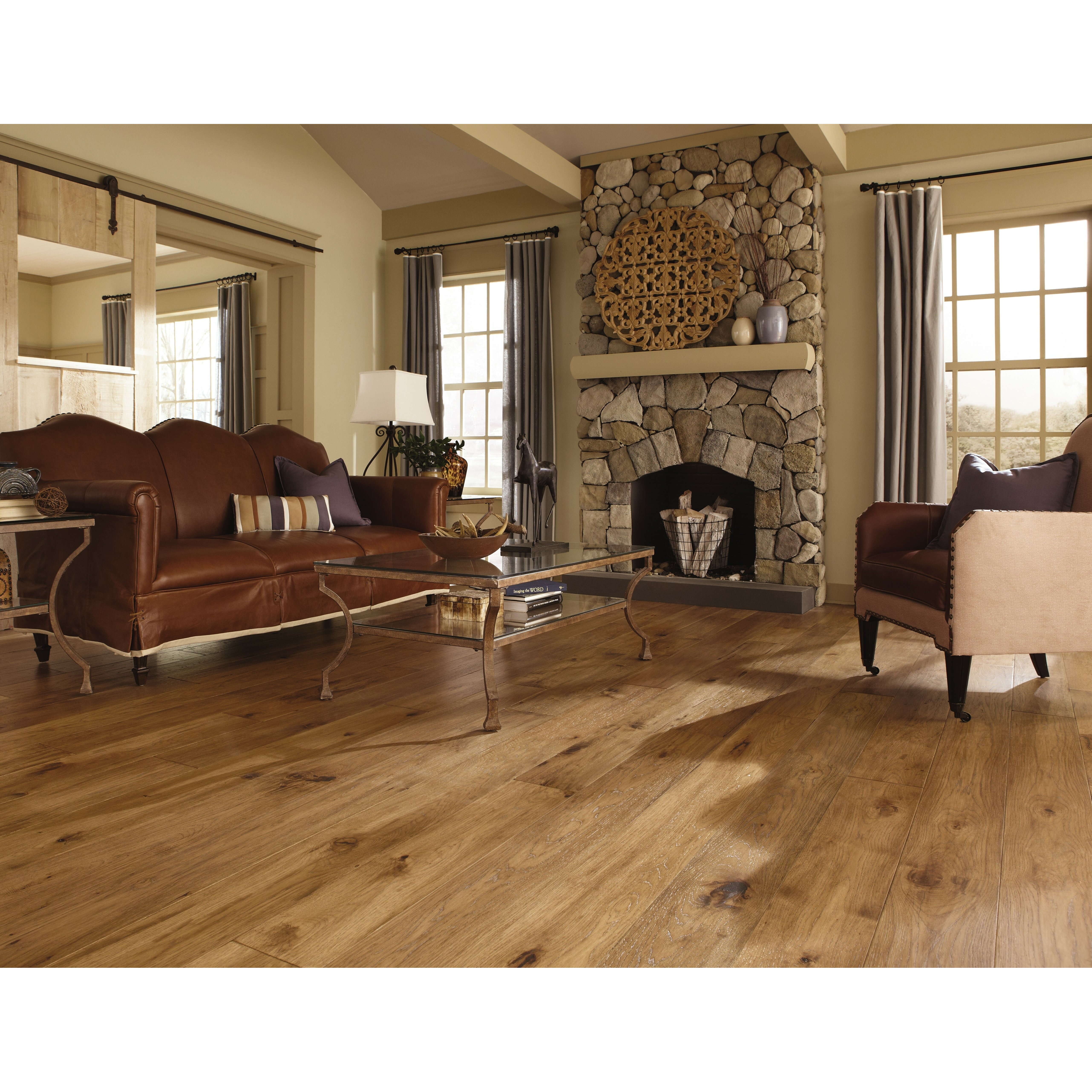 maison 7 solid hickory hardwood flooring in champagne wayfair. Black Bedroom Furniture Sets. Home Design Ideas