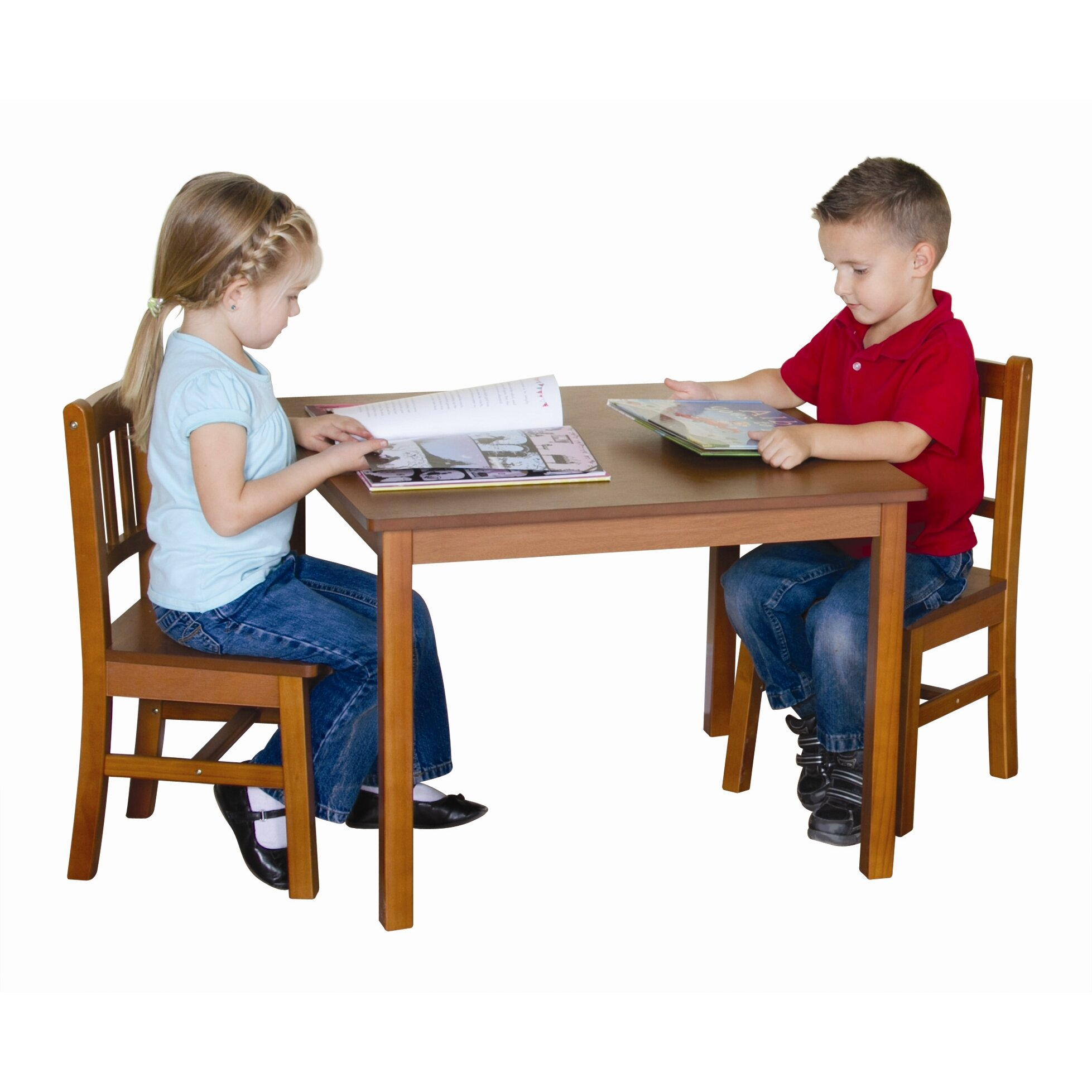 Guidecraft New Mission Kid S 3 Piece Table And Chair Set