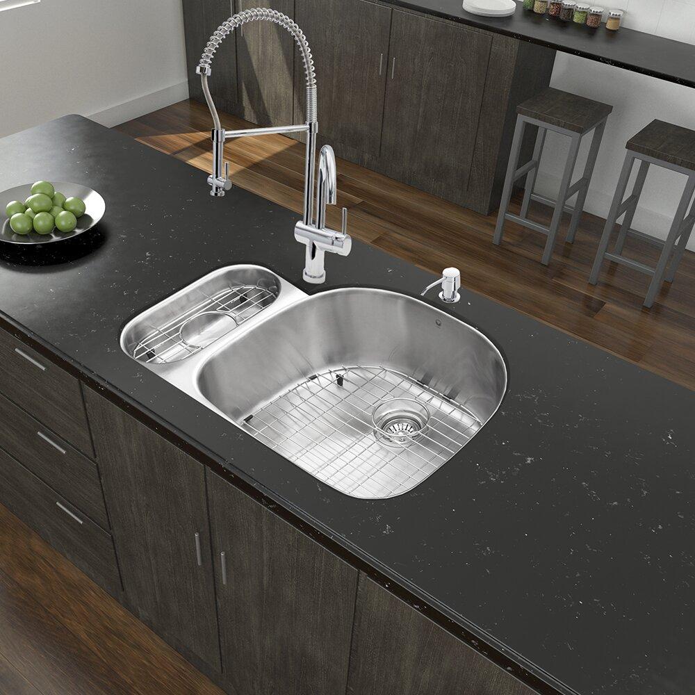 32 Inch Undermount Kitchen Sink: 32 Inch Undermount 80/20 Double Bowl 18 Gauge Stainless