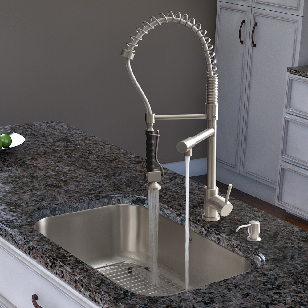 Zurich Single Handle Pull Down Spray Kitchen Faucet Wayfair