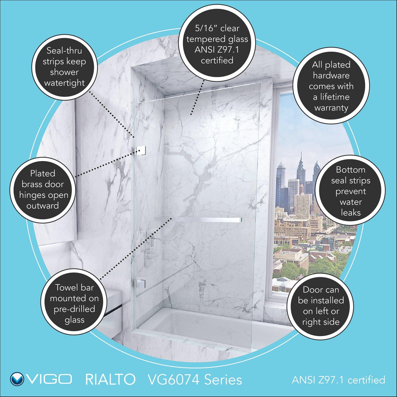 Rialto 58 Quot X 34 Quot Bathtub Door Wayfair