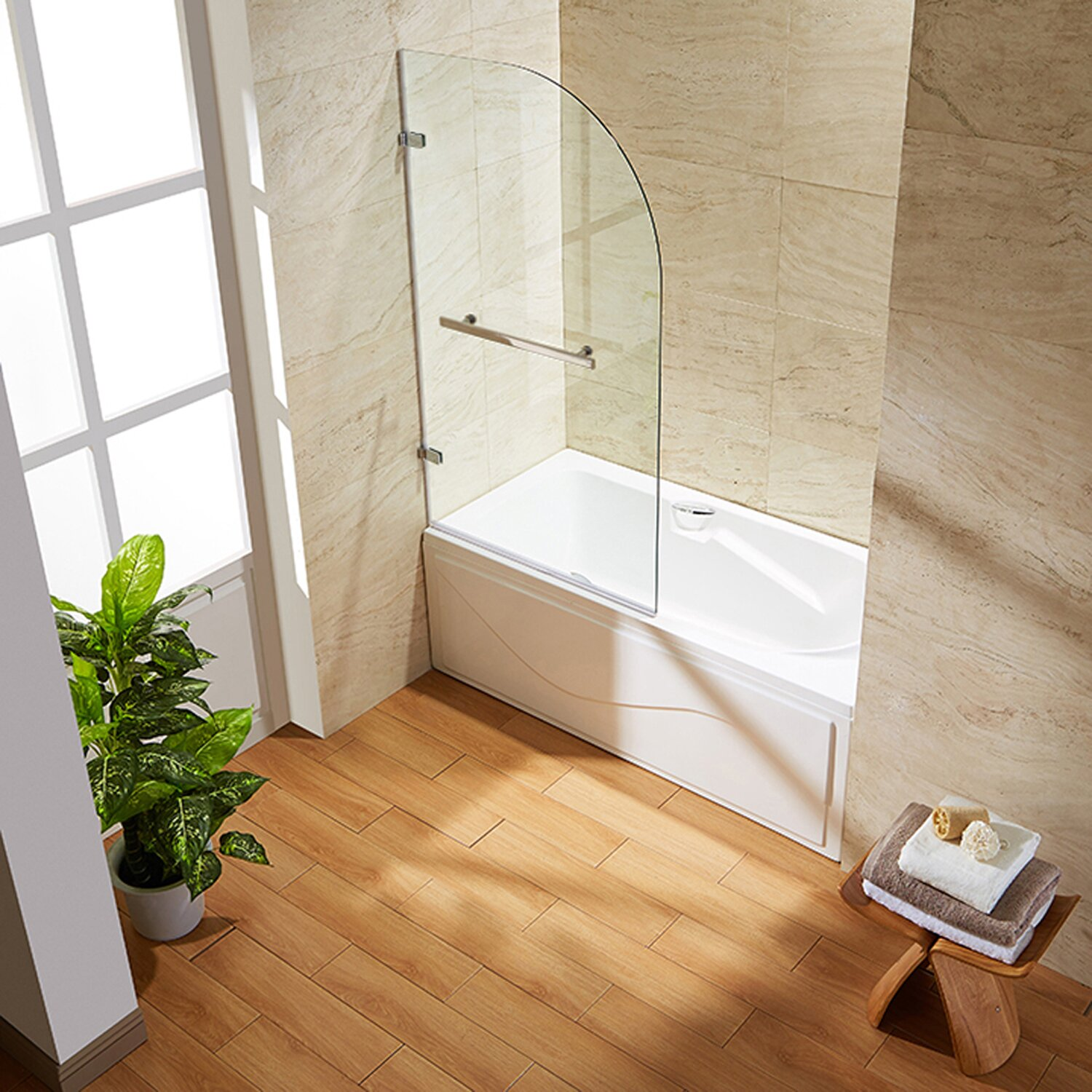Orion 34 In Curved Bathtub Door With 3125 In Clear