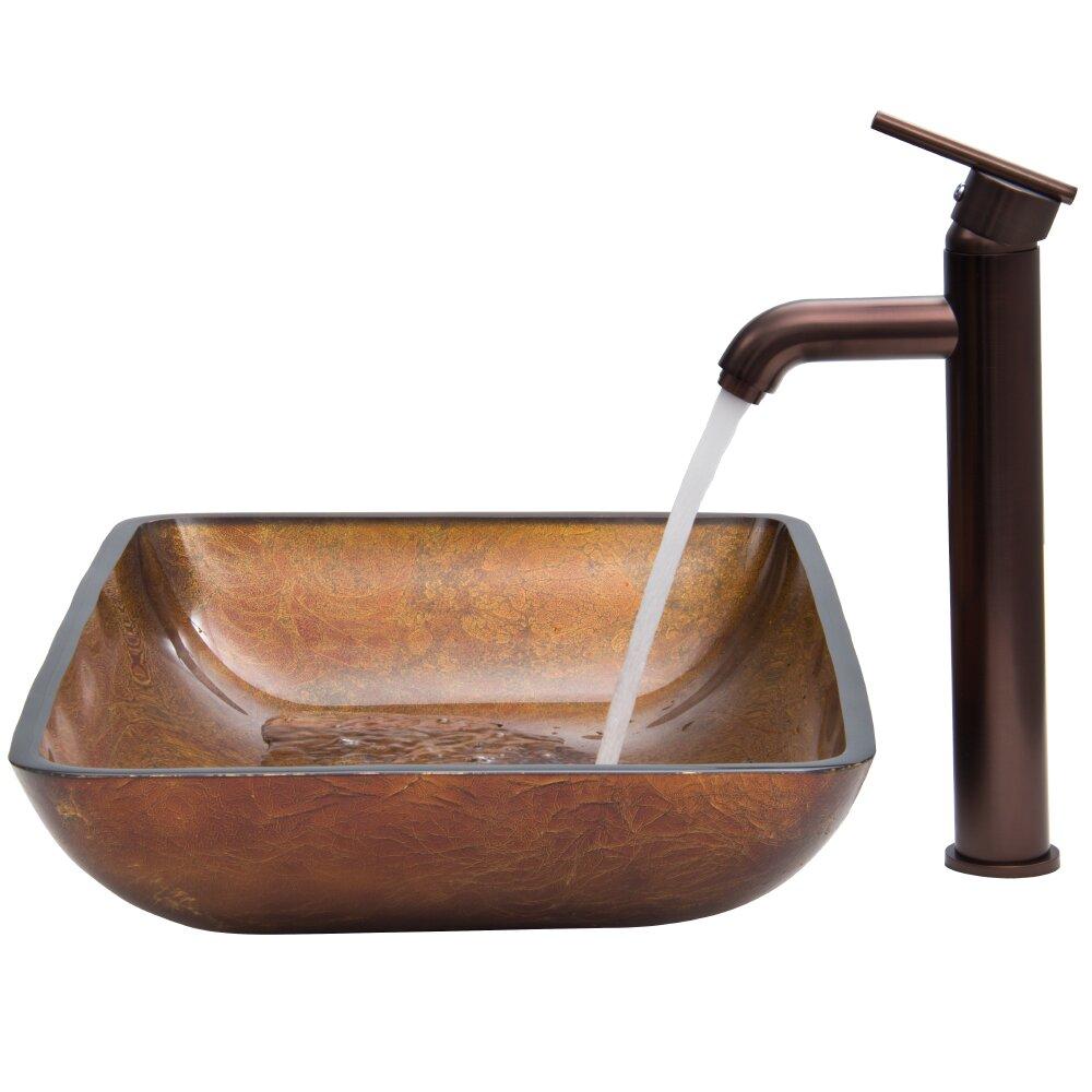 Rectangular russet glass vessel bathroom sink and seville - First outlet vigo ...