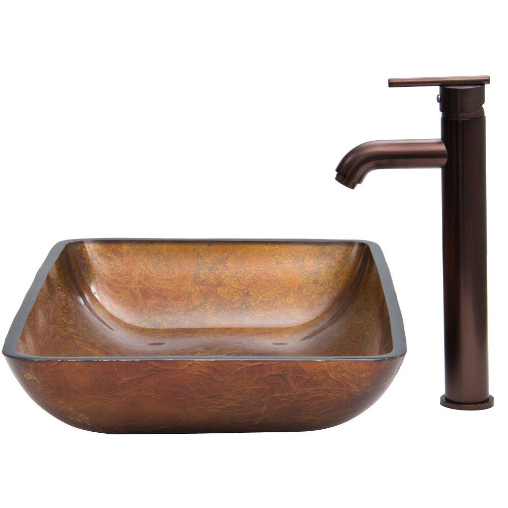 Vigo Rectangular Russet Glass Vessel Bathroom Sink and Seville Vessel ...