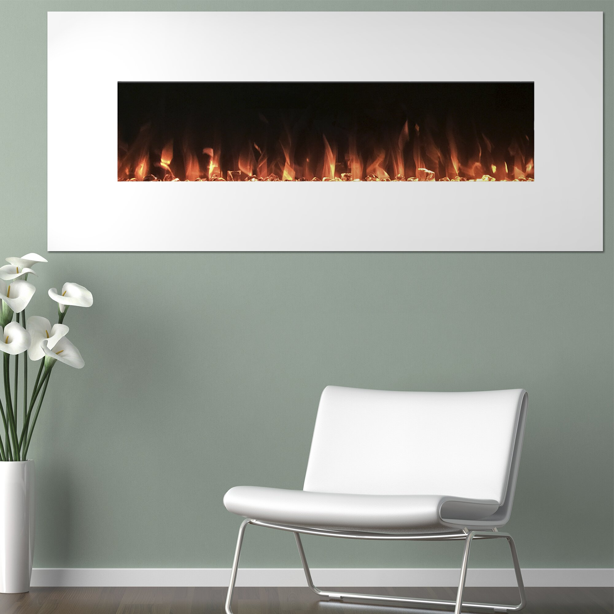 pearl wall mount electric fireplace wayfair. Black Bedroom Furniture Sets. Home Design Ideas