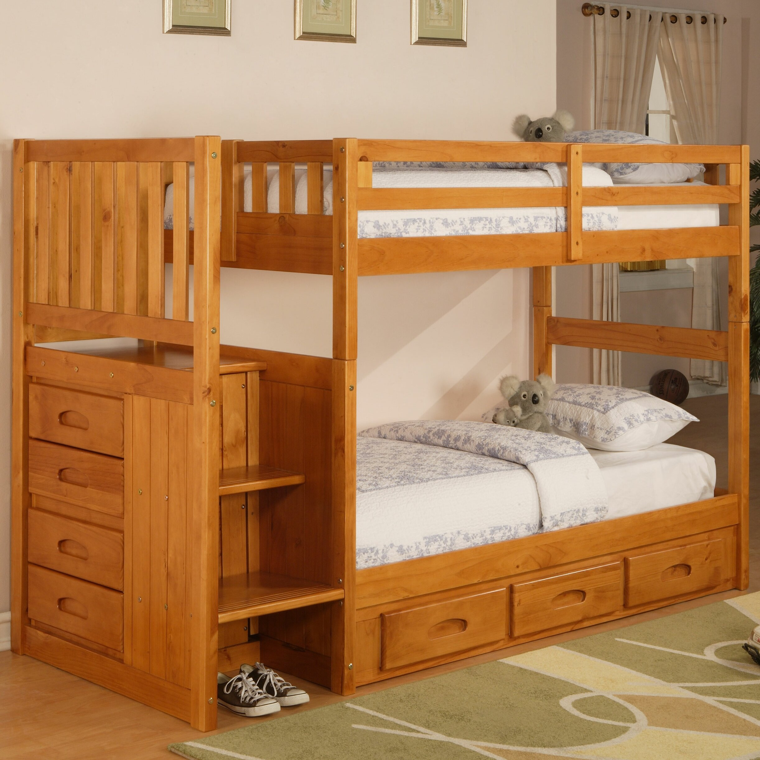 weston twin over twin bunk bed with stairs and storage wayfair. Black Bedroom Furniture Sets. Home Design Ideas
