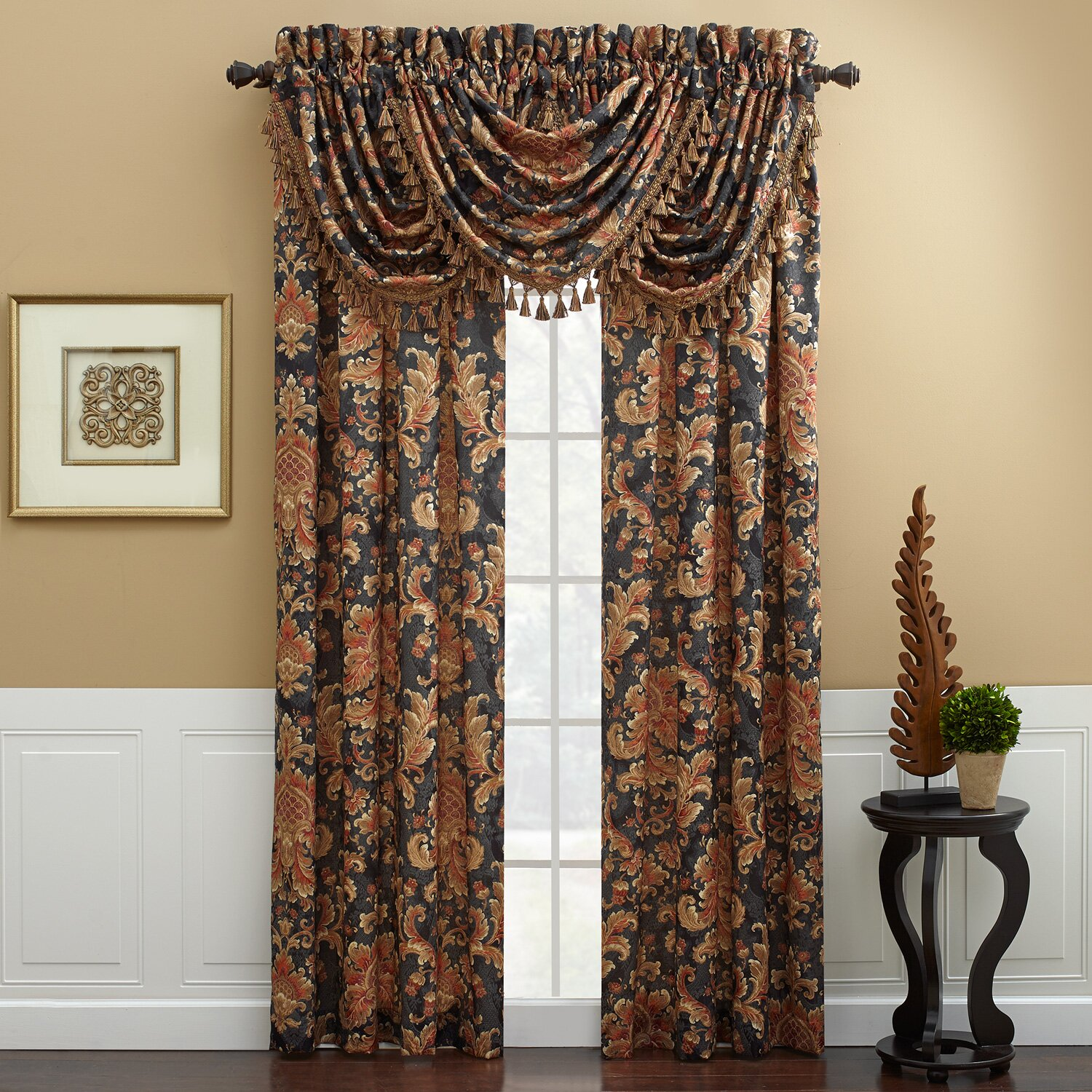 "Serafina Waterfall Swag 48"" Curtain Valance"