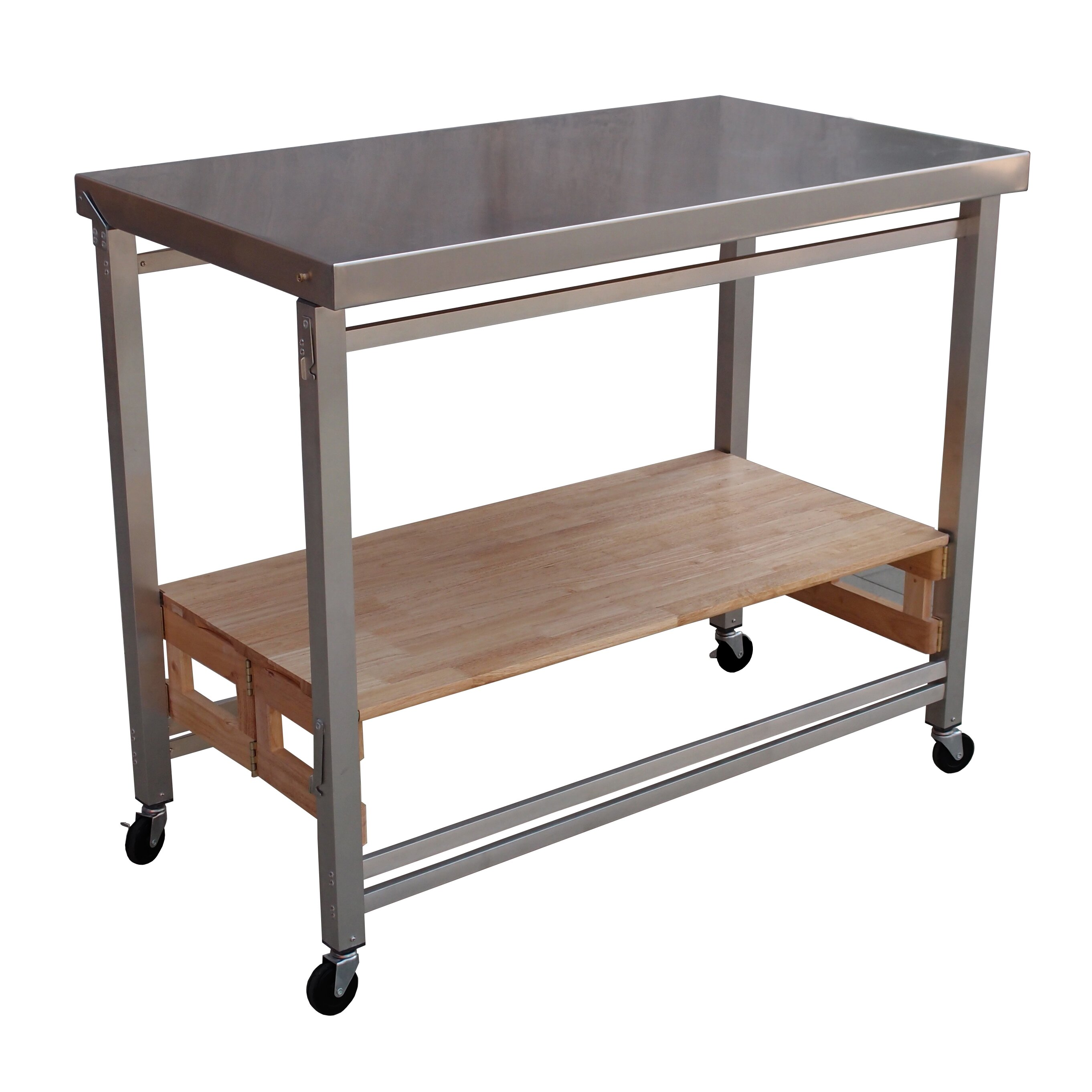 folding kitchen island folding kitchen island with stainless steel top joss main 3045