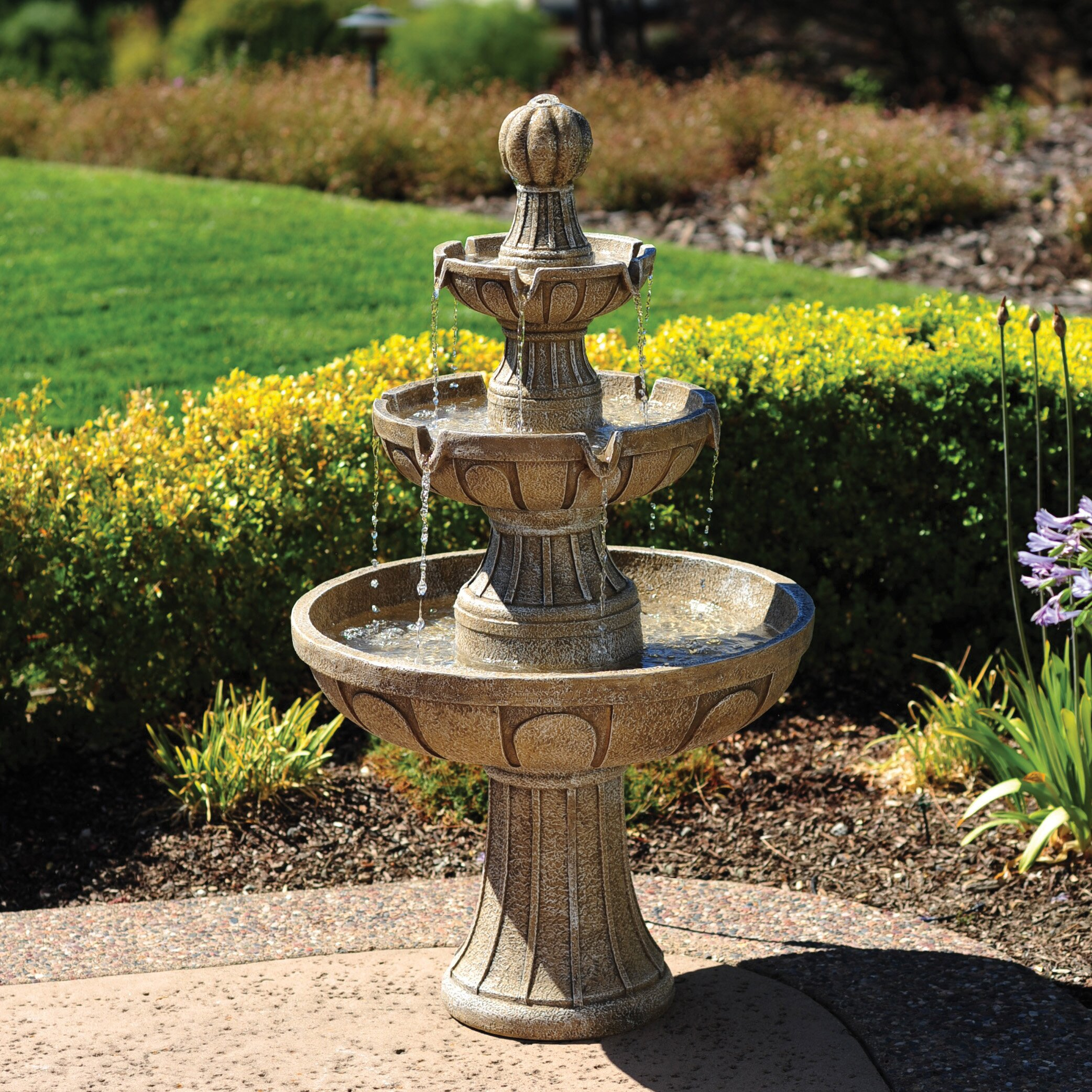 Garden Fountain: Bond Napa Valley Fiberglass 3 Tiered Fountain & Reviews