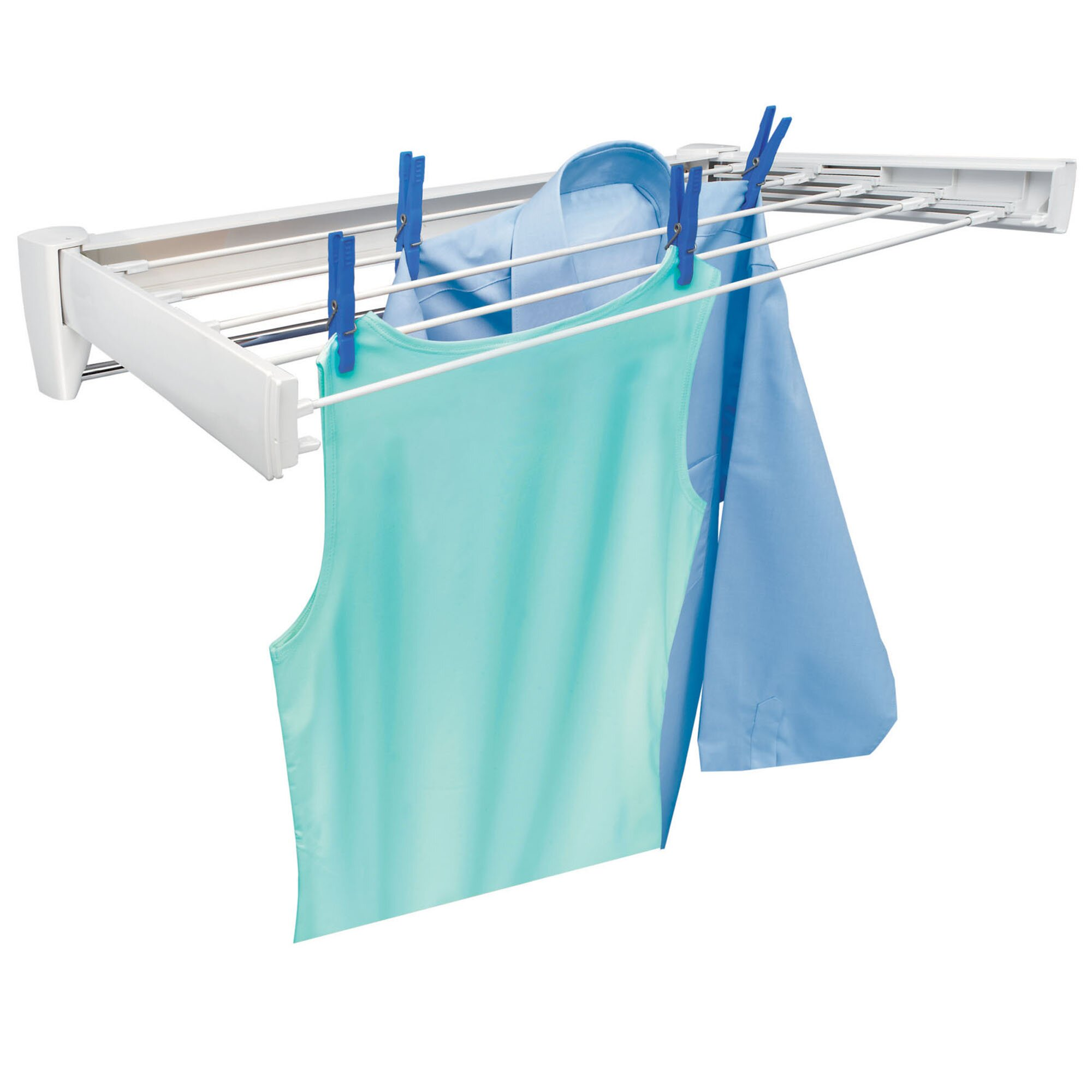 ... 70 Retractable Wall Mount Clothes Drying Rack with Towel Bar  Wayfair