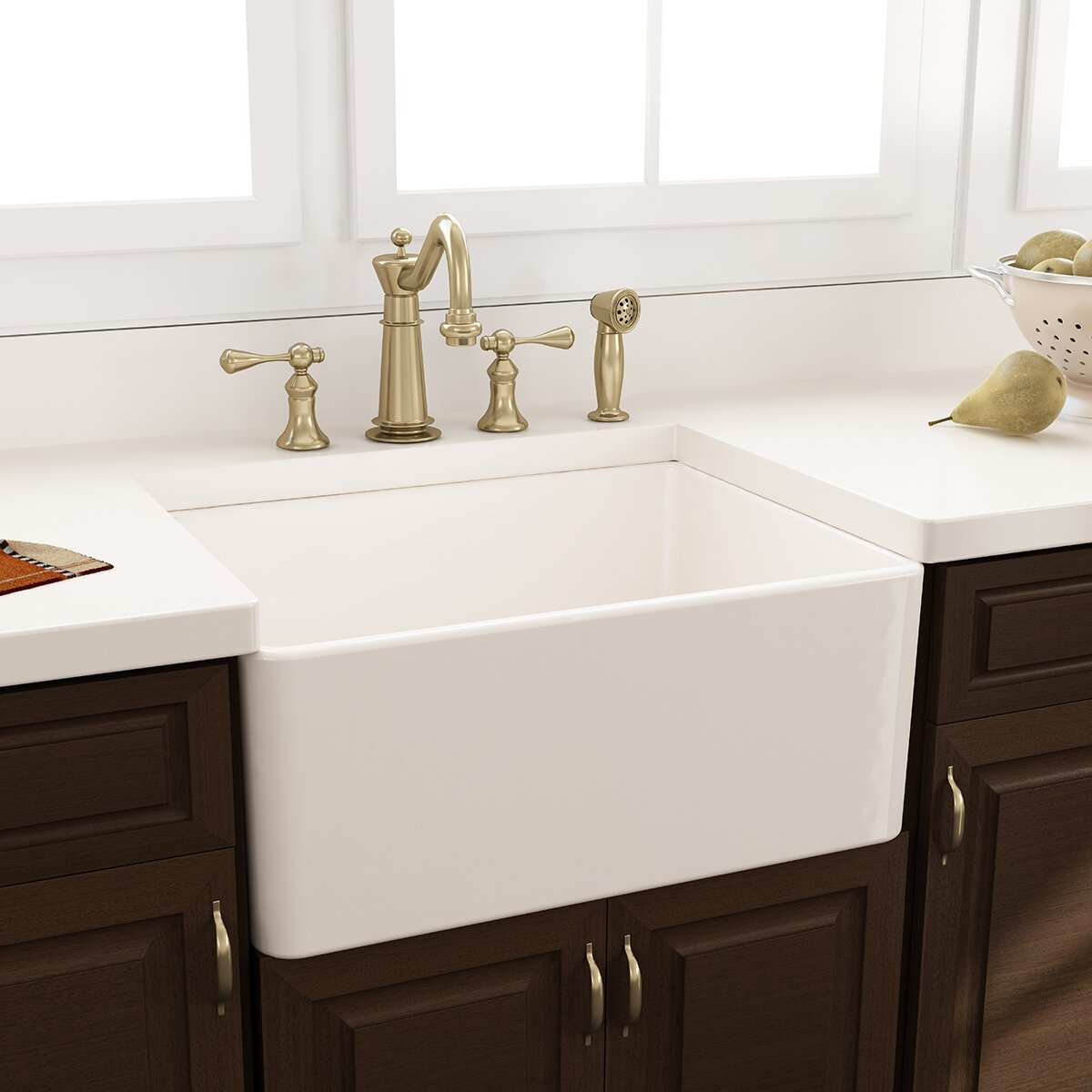 "Nantucket Sinks 24"" x 18"" Fireclay Farmhouse Kitchen Sink with Grid"